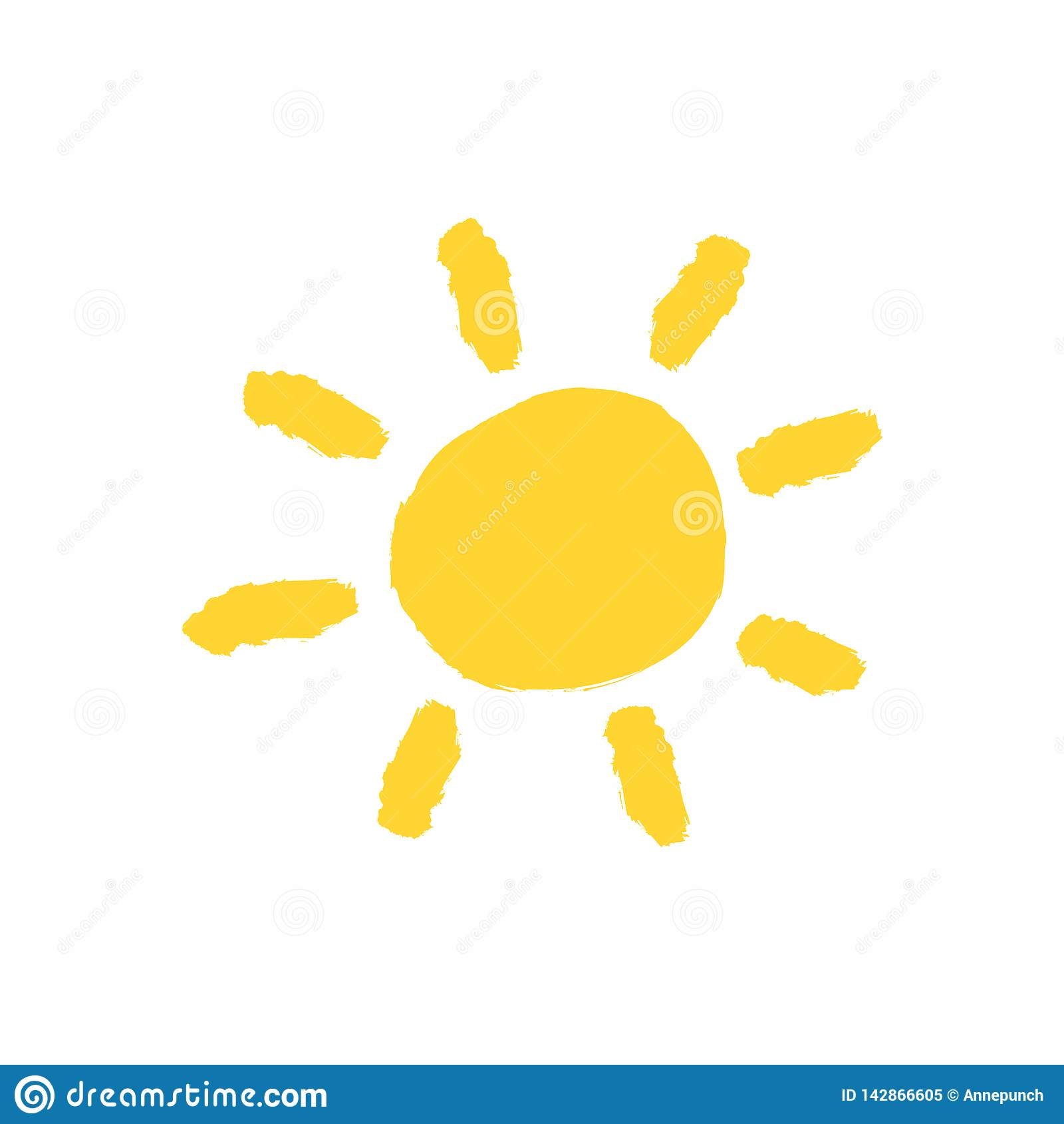 黄色太阳用手画与水彩刷子 难看的东西象,商标,标志 剪影,油漆,街道画