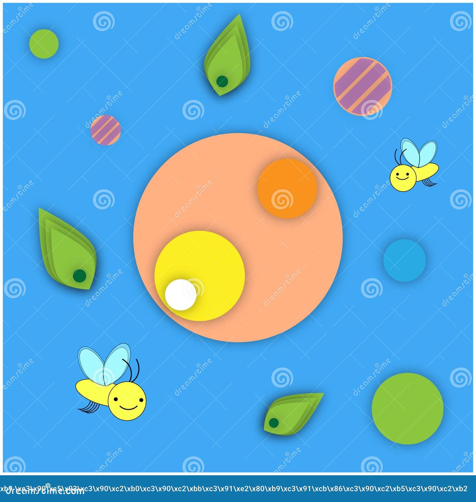黄色微笑的蜂的传染媒介例证正面图象在蓝色背景的与以圈子的形式几何样式