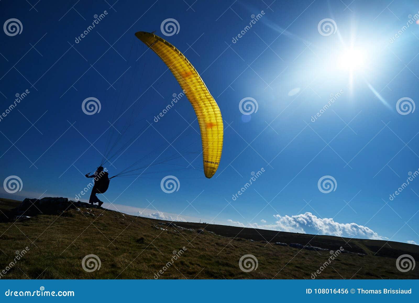黄色滑翔伞太阳天空草