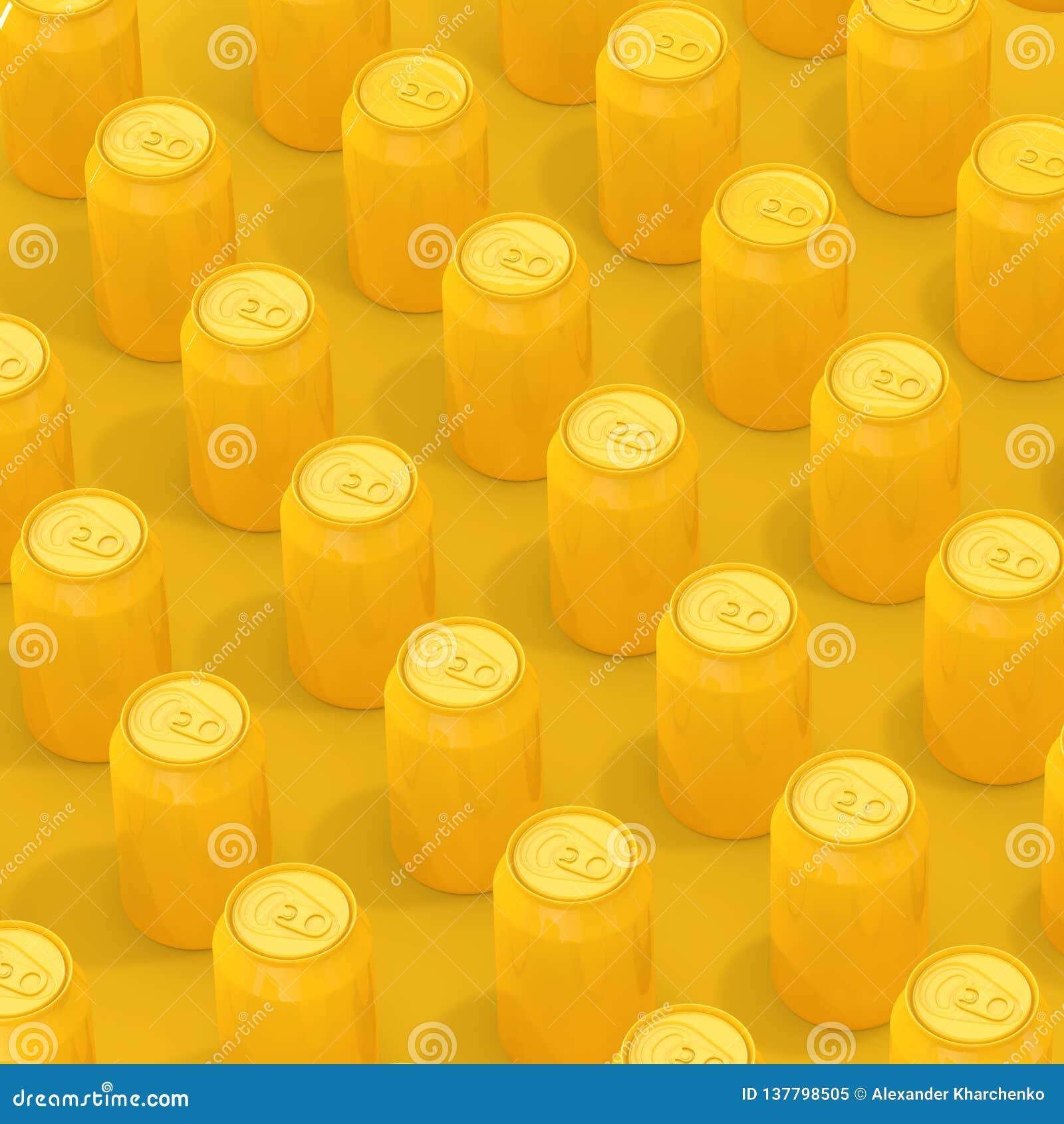 黄色等量空白的铝饮料罐头行  3d翻译