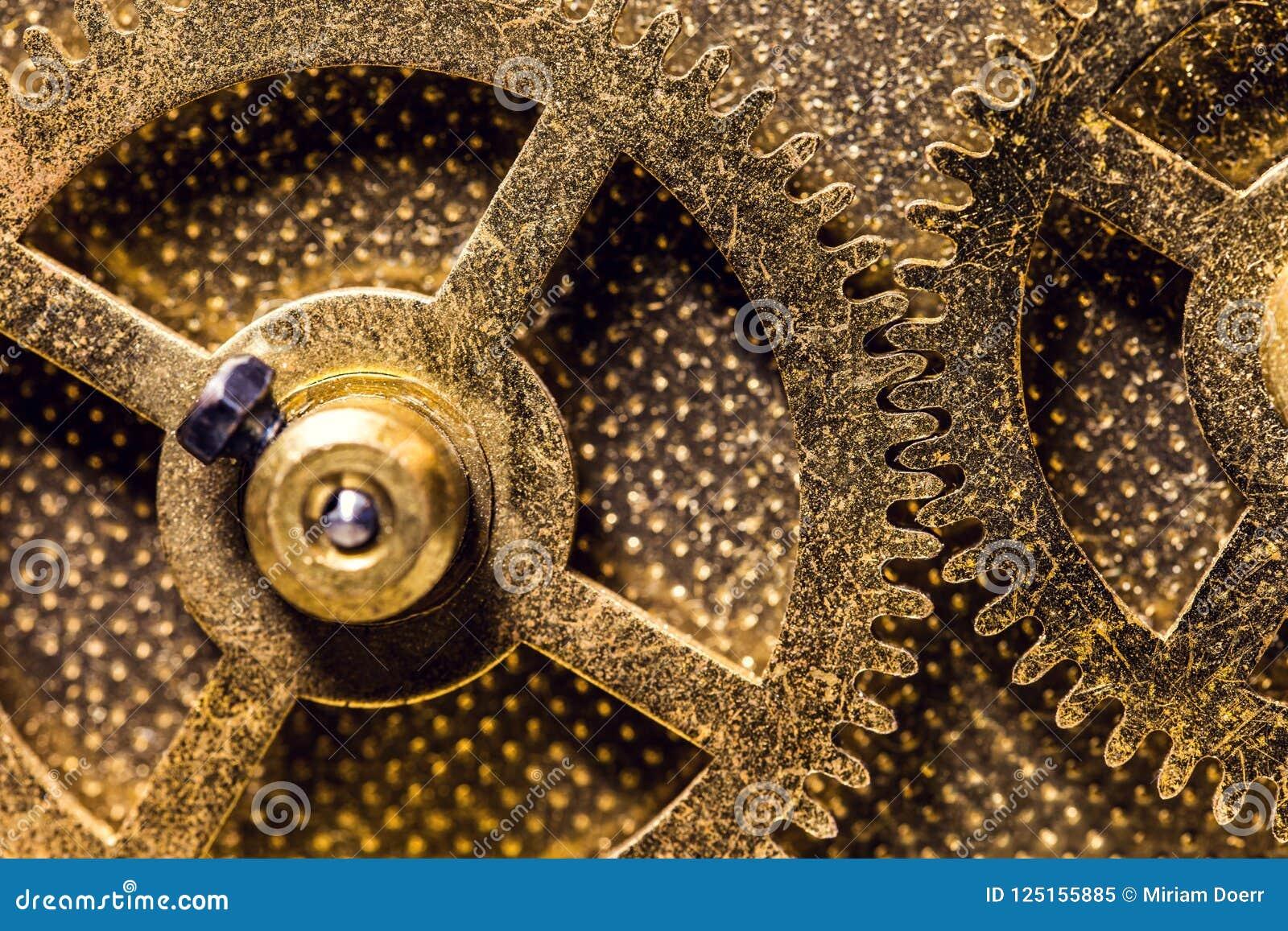 黄铜色钝齿轮或大齿轮,概念运动和机械