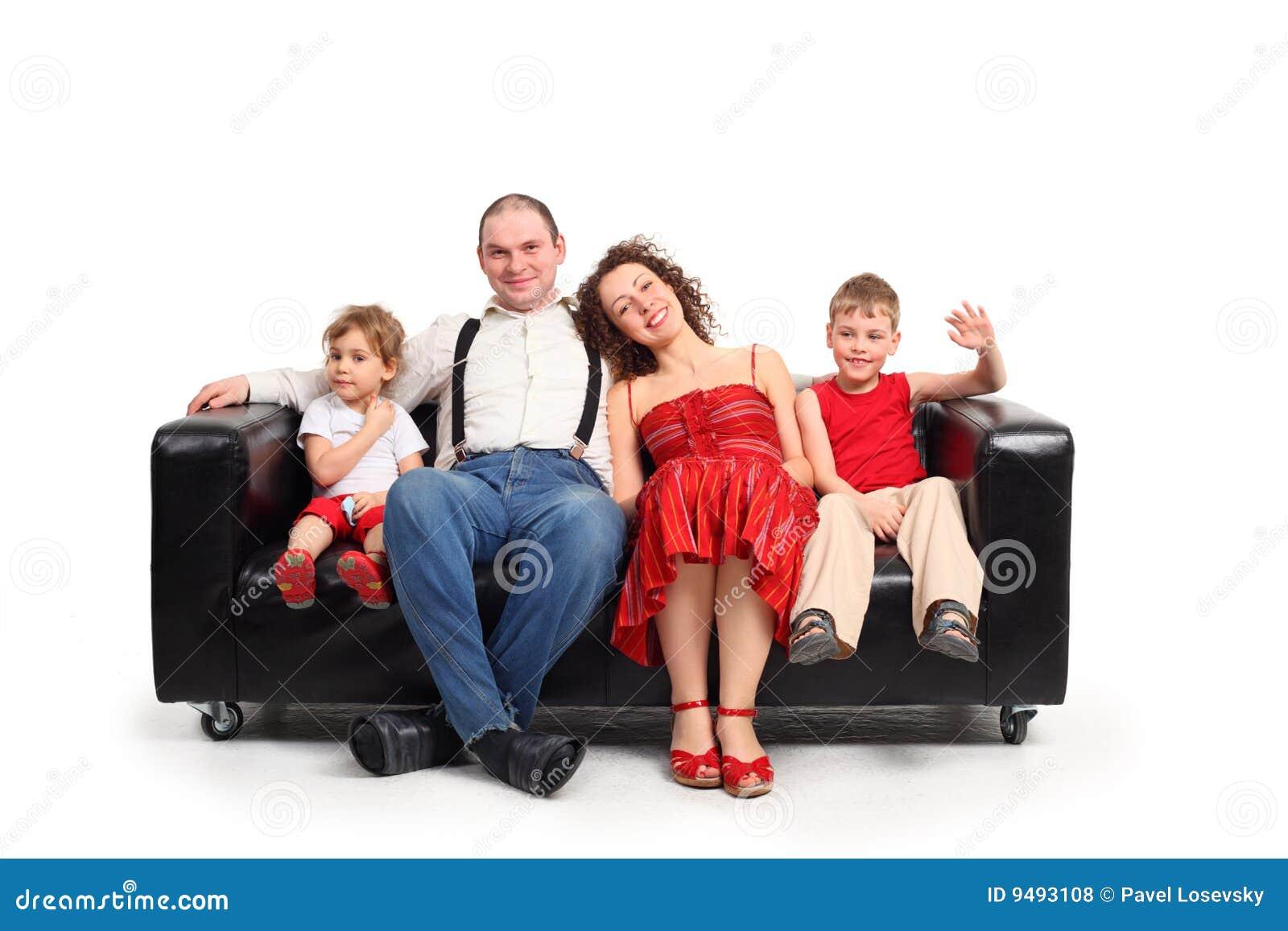黑人儿童皮革父项坐沙发