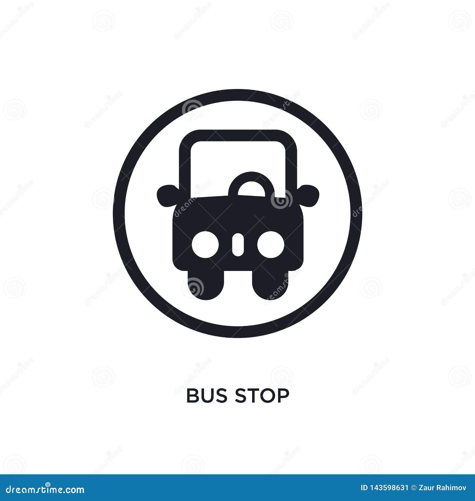 黑公交车站被隔绝的传染媒介象 从的简单的元素例证交通标志概念传染媒介象 公交车站编辑可能的商标