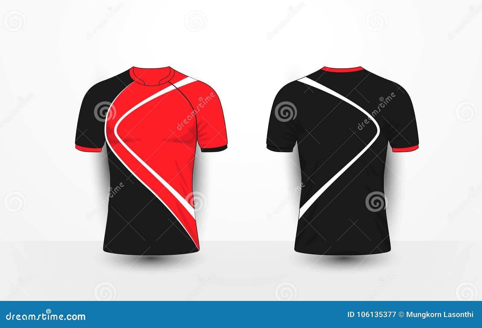 黑和红色与空白线路炫耀橄榄球成套工具,球衣, T恤杉设计模板