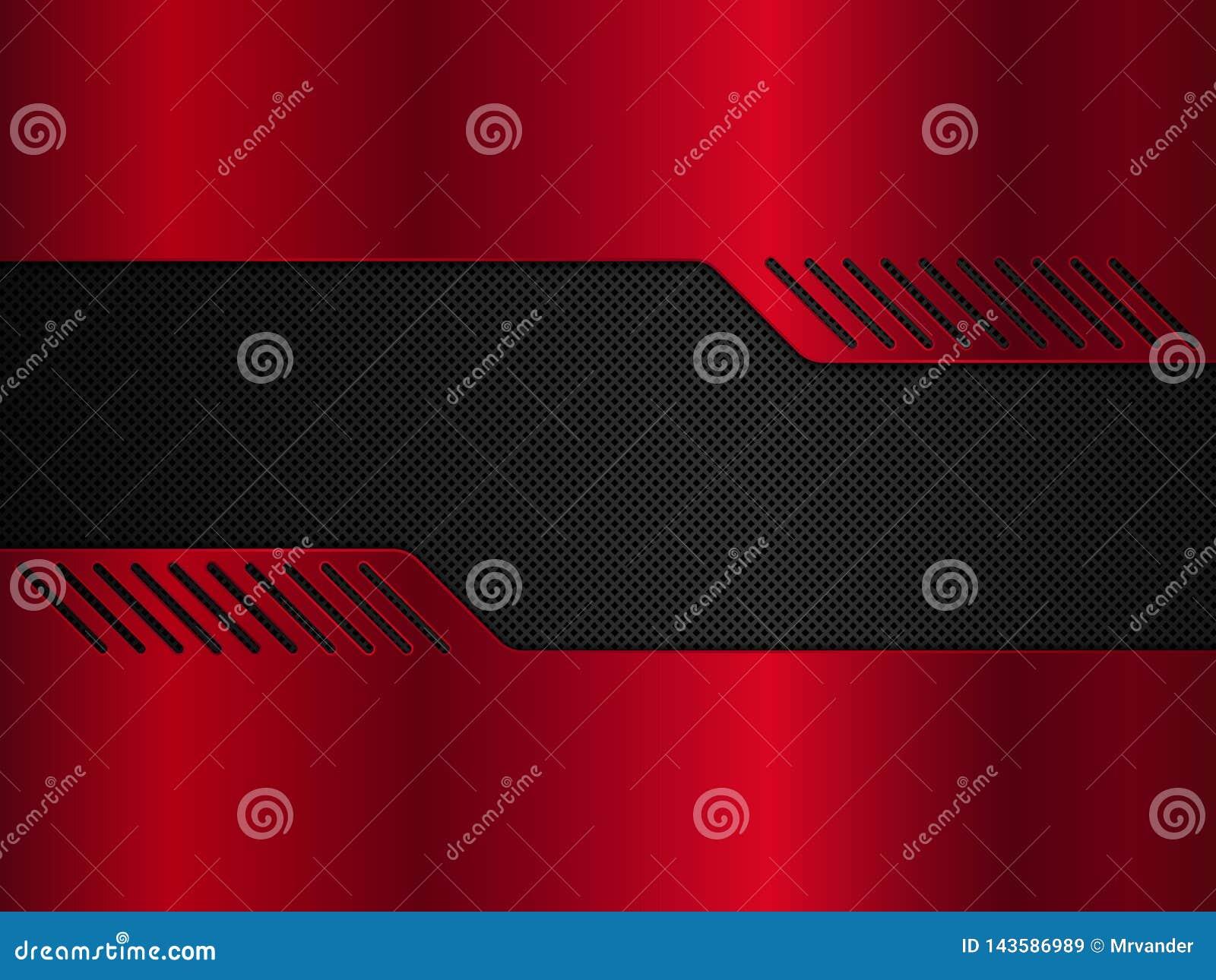 黑和红色金属背景 传染媒介金属横幅 E