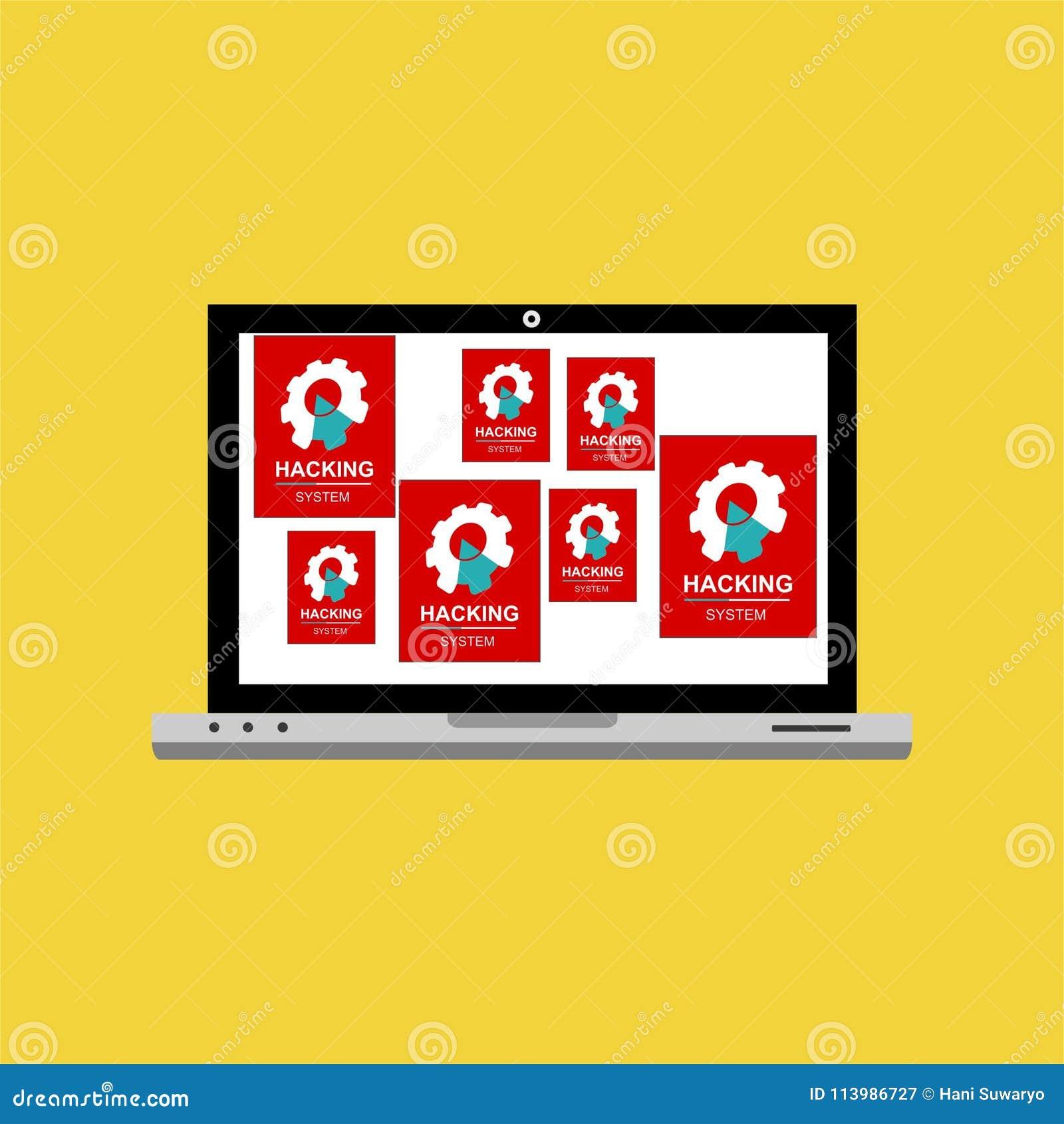 黑客互联网计算机安全技术平的概念 黑客活动计算机 在便携式计算机上的机敏的通知,