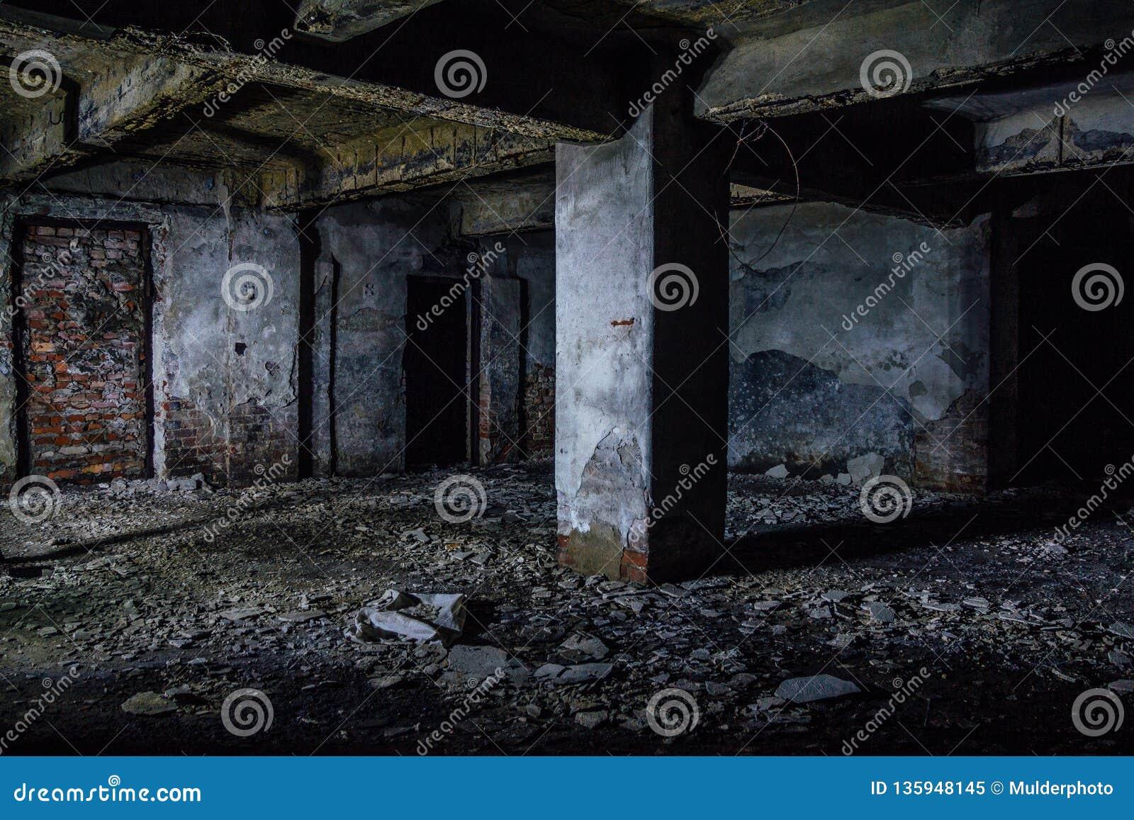 黑暗和蠕动的肮脏的被放弃的地下地下室