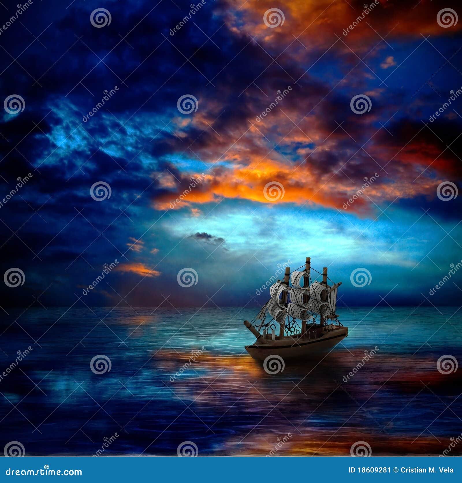 黑暗的海运船