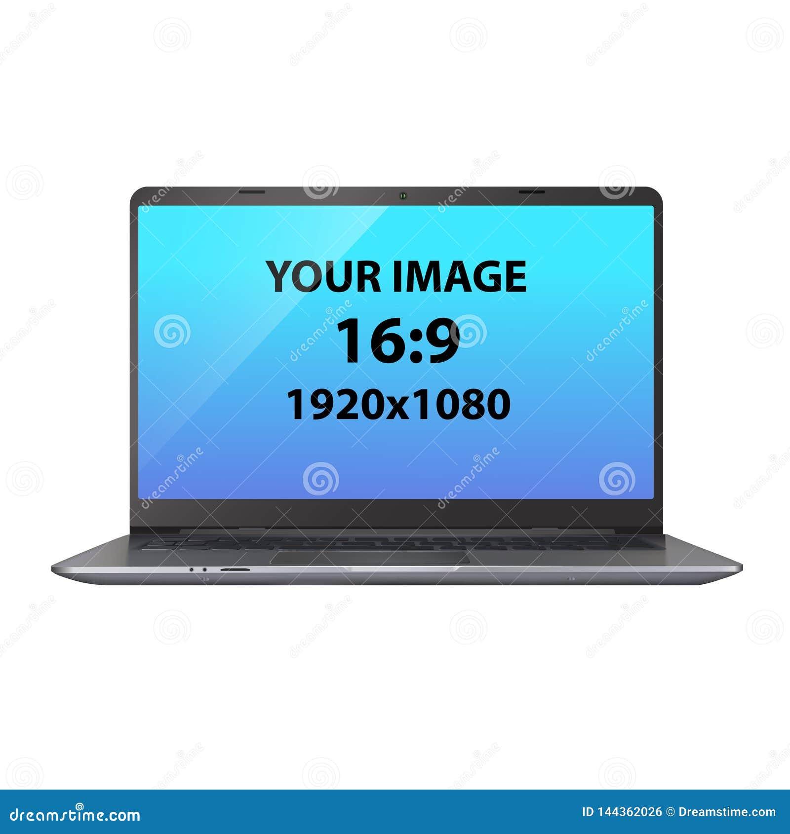 黑暗的银色未打上烙印的膝上型计算机 正面图照片拟真的传染媒介大模型