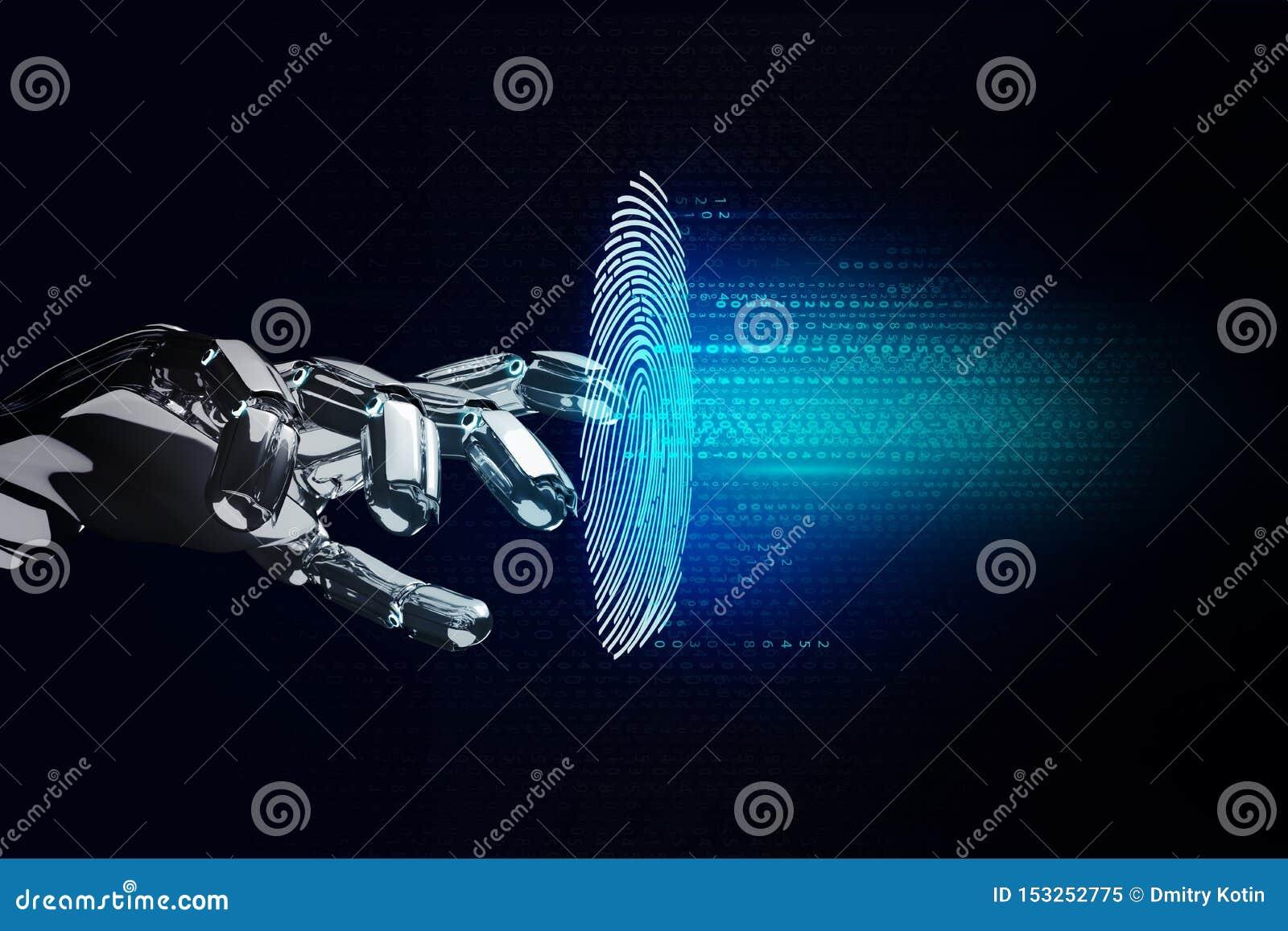 黑机器人在真正空间的手裂化的指纹密码