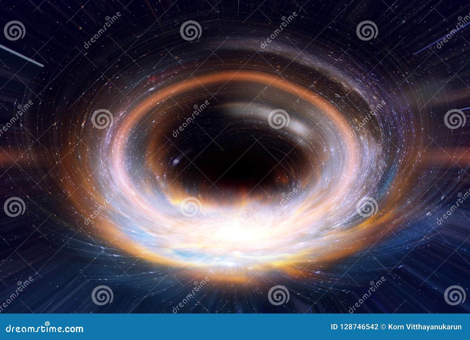 黑洞或蠕虫孔在星系空间和时期在宇宙概念艺术