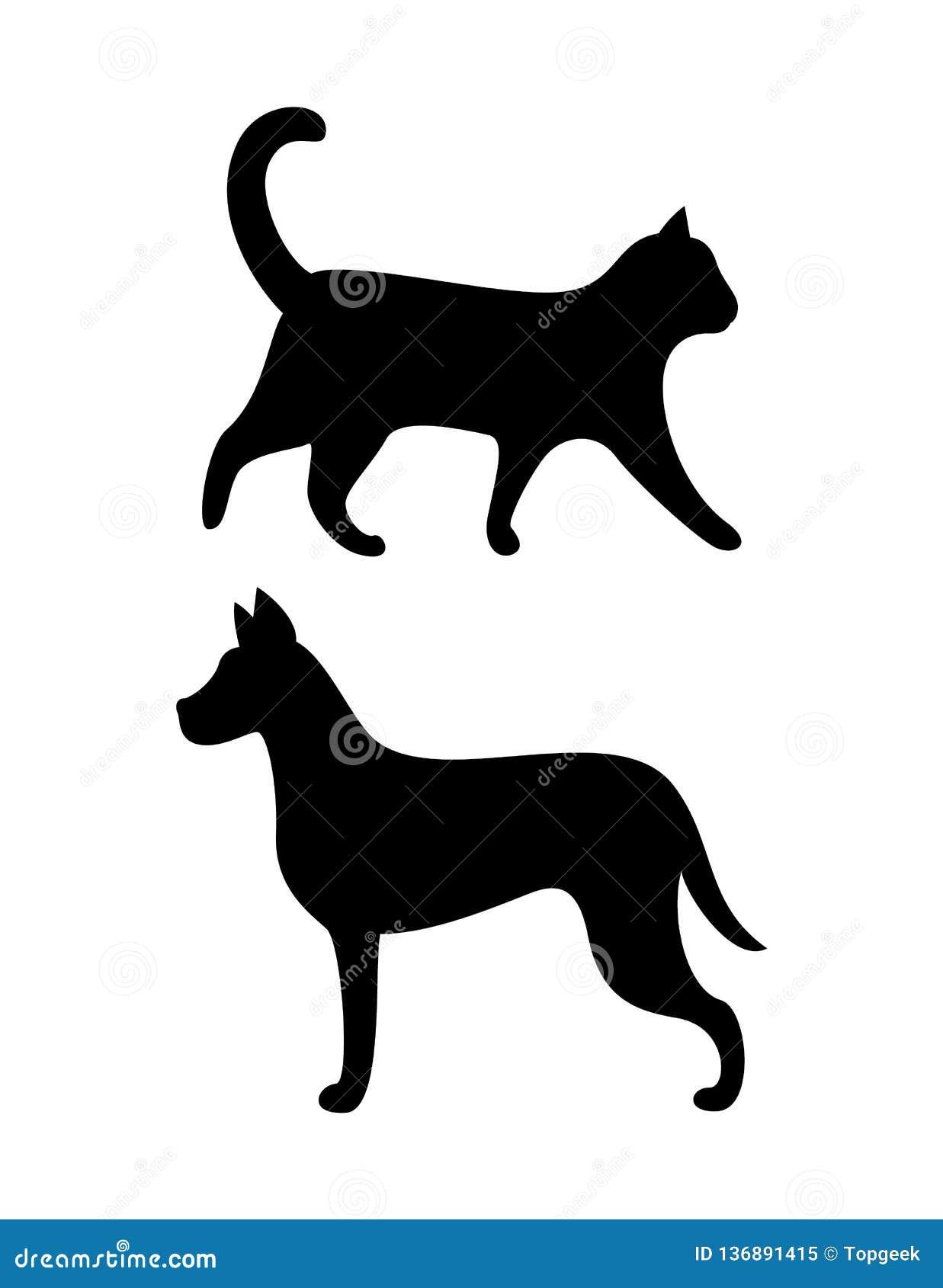 黑狗和猫剪影导航似犬似猫