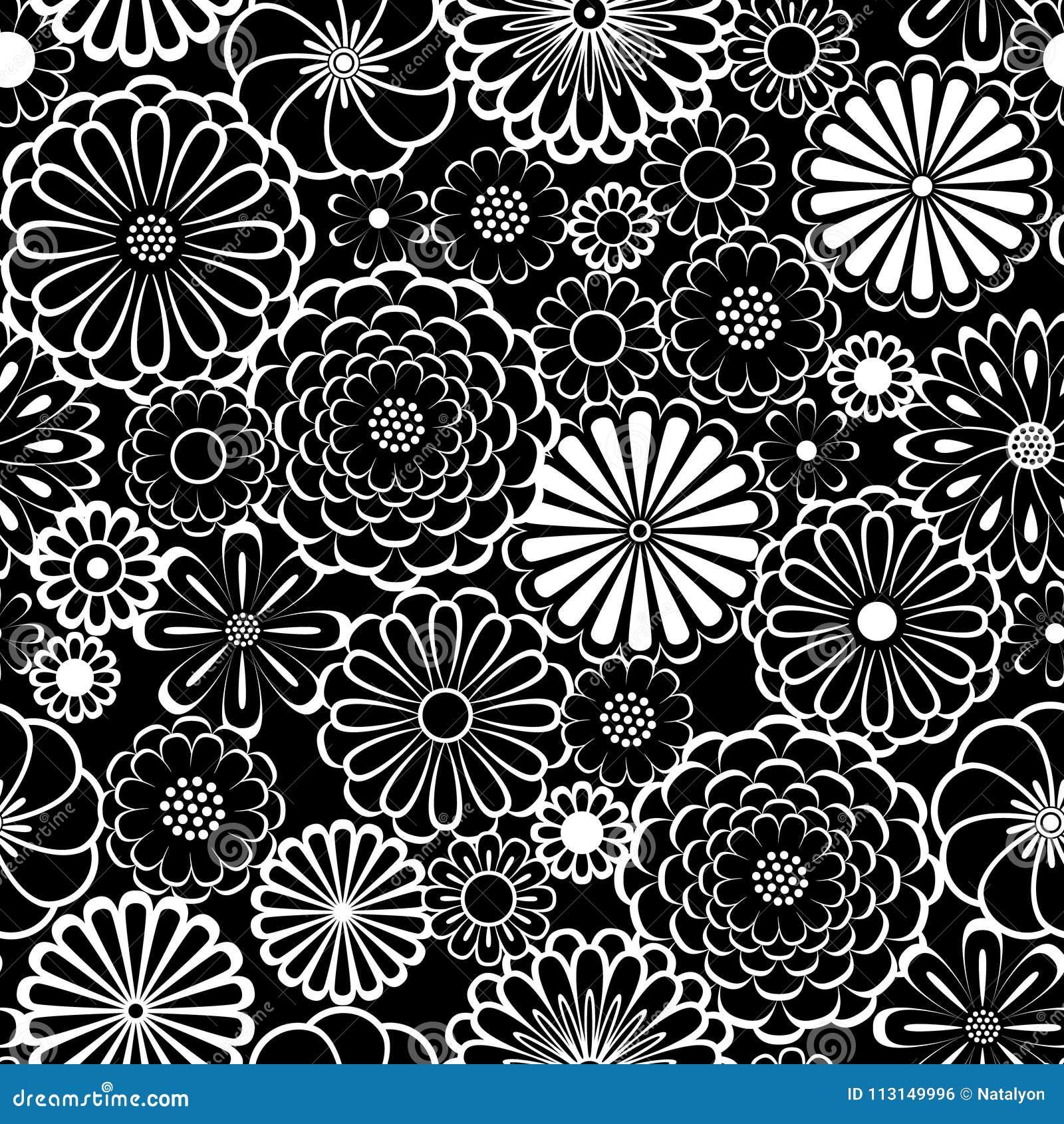 黑白圈子雏菊开花自然无缝的样式,传染媒介