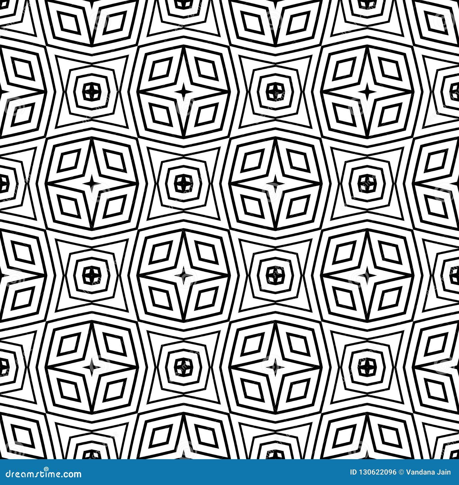 黑白无缝的样式几何衬里 背景,正方形