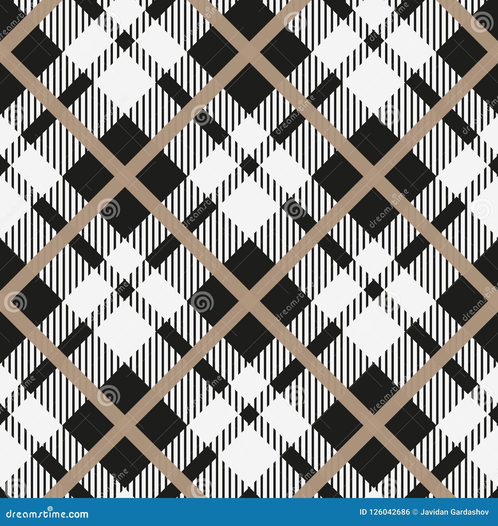 黑白织品的格子呢对角无缝的传染媒介样式方格的格子花呢披肩纹理几何简单的方形的背景, t