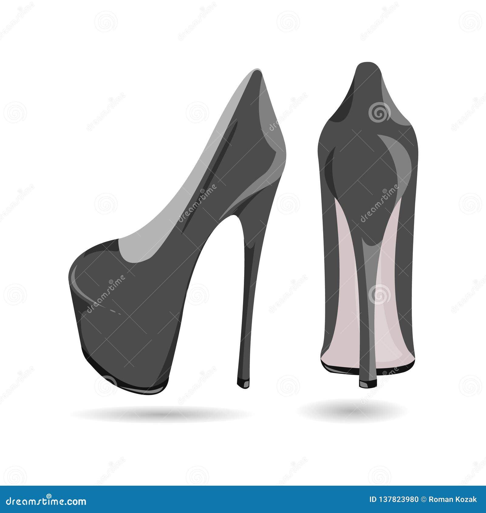 黑的妇女的/灰色专利皮鞋,隔绝在白色背景 有一只高跟鞋的黑/灰色鞋子