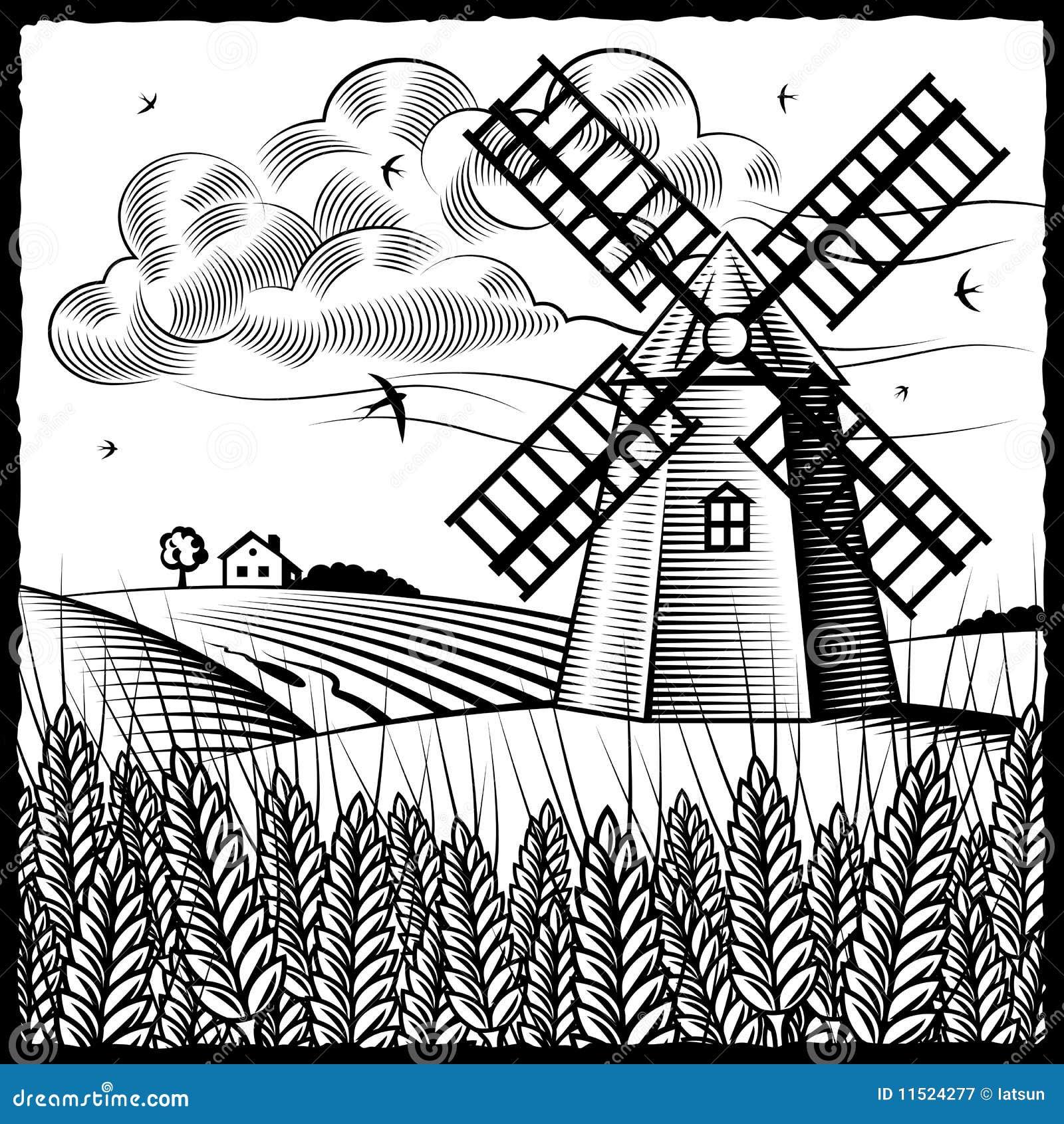 黑色横向白色风车