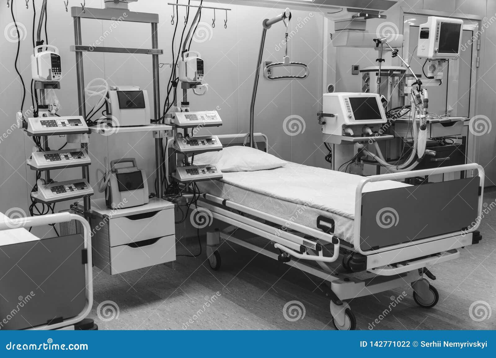 黑色白色 医院急诊室特护 现代设备,健康医学,治疗,住院病人的概念