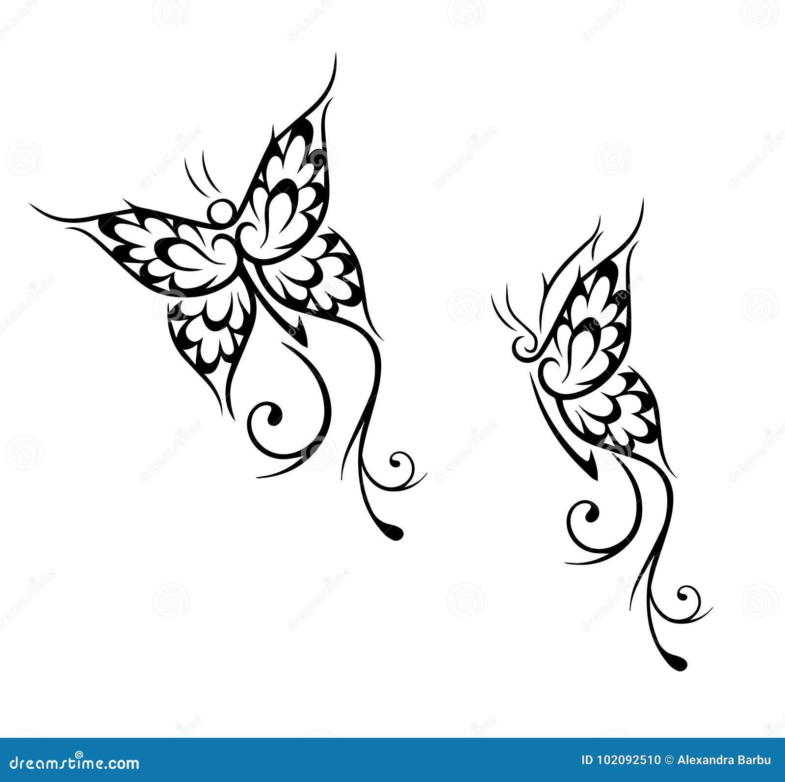 黑色蝴蝶例证查出对象纹身花刺向量白色