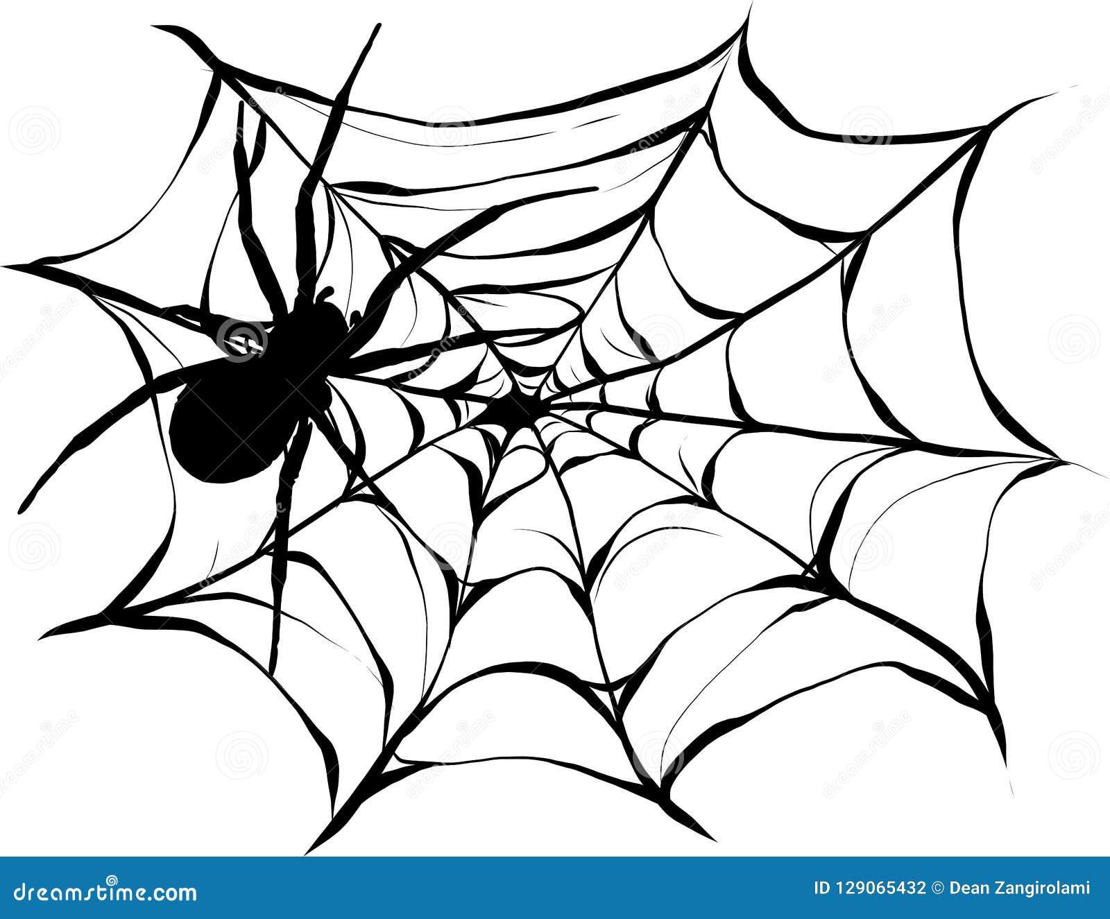 黑蜘蛛和被撕毁的网 万圣夜标志可怕spiderweb  隔绝在白色例证