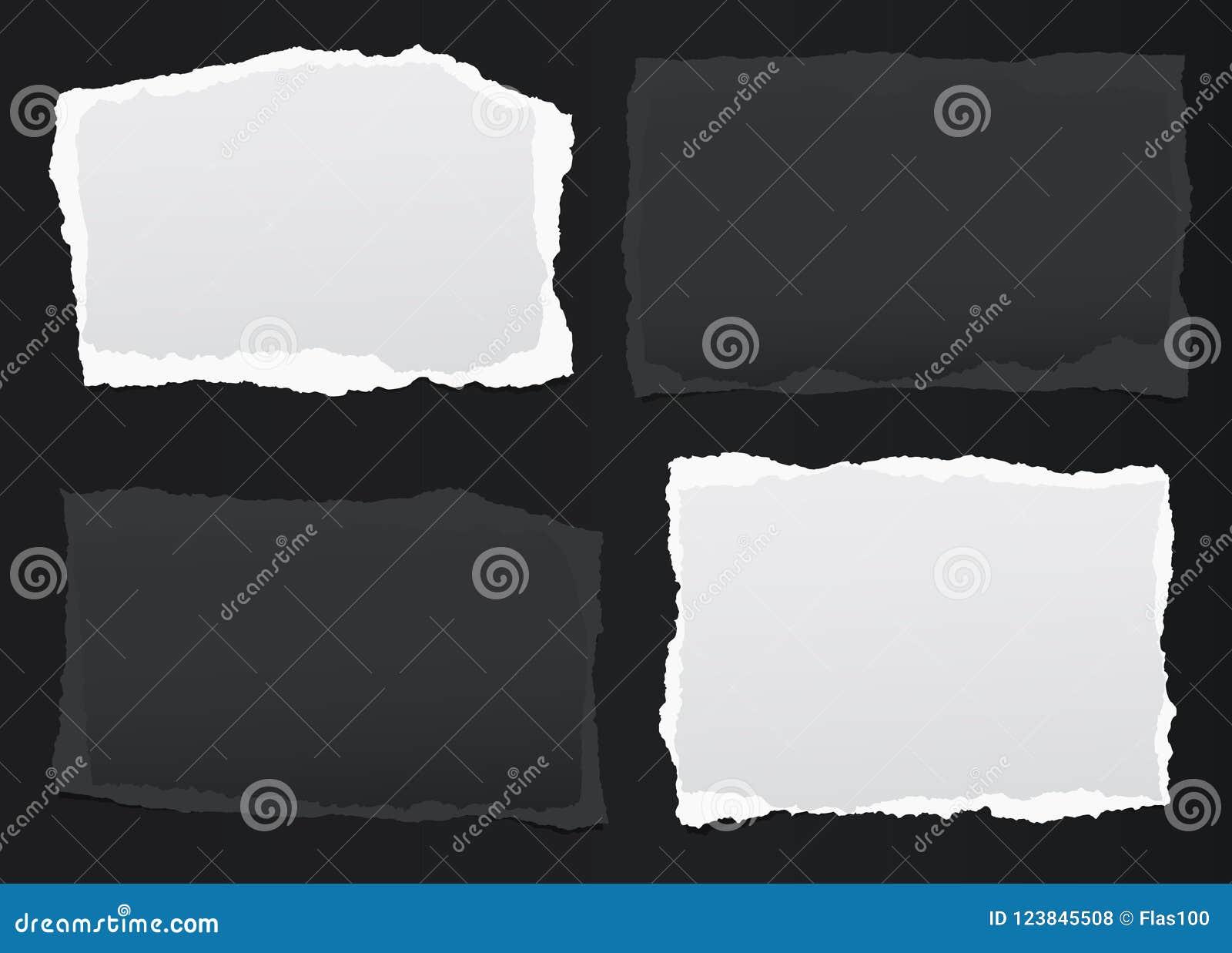 黑,白色笔记,与被撕毁的边缘的笔记本纸片断在黑backgroud黏附了 也corel凹道例证向量