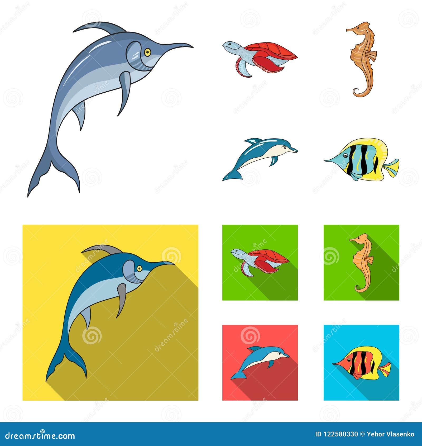 默林、乌龟和其他种类 海洋动物设置了在动画片,平的样式传染媒介标志股票例证的汇集象