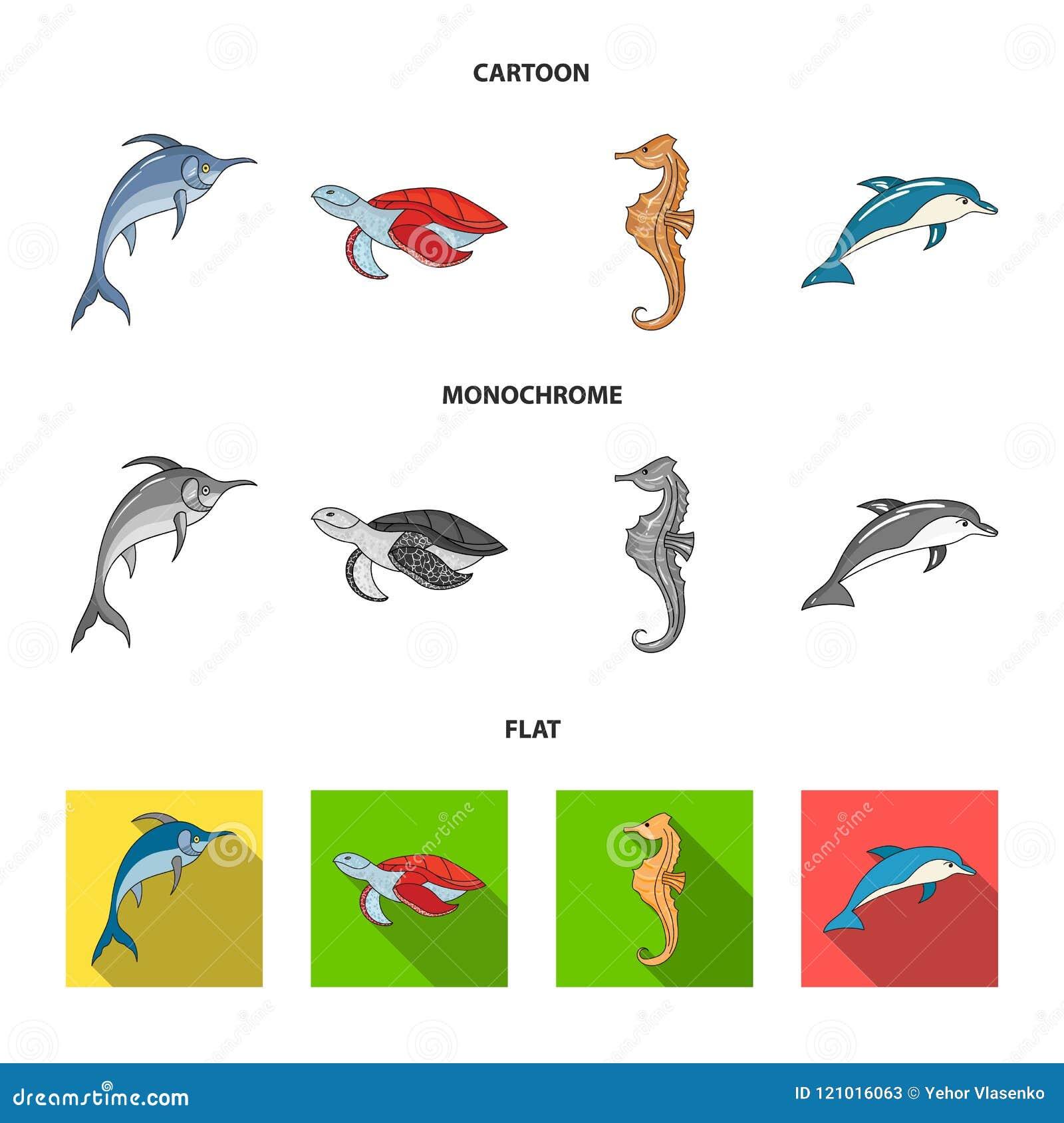 默林、乌龟和其他种类 海洋动物设置了在动画片,平,单色样式传染媒介标志股票的汇集象