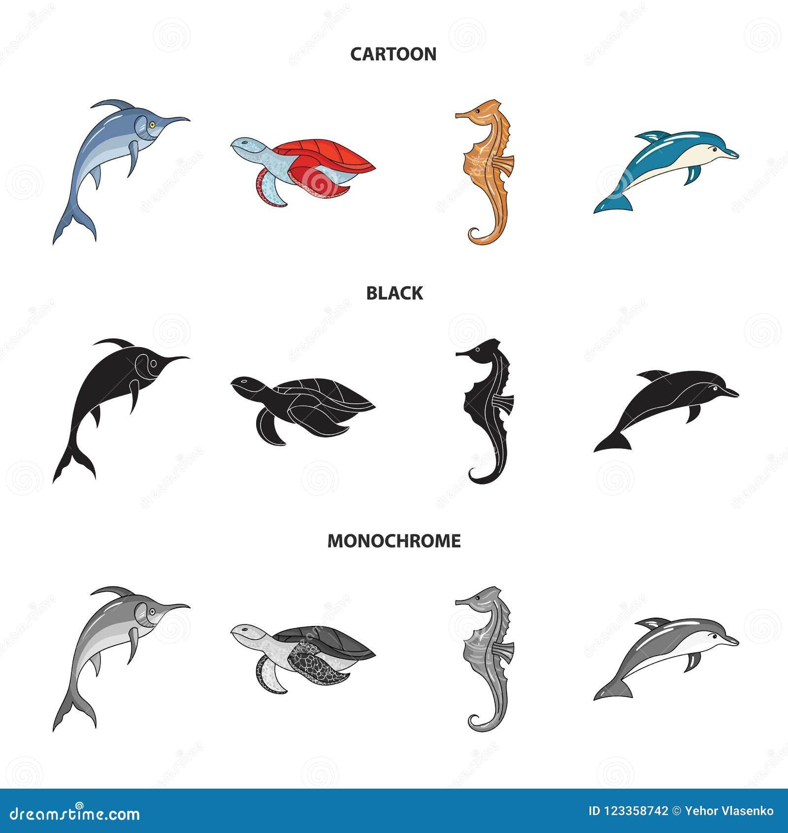默林、乌龟和其他种类 海洋动物设置了在动画片,黑色,单色样式传染媒介标志股票的汇集象