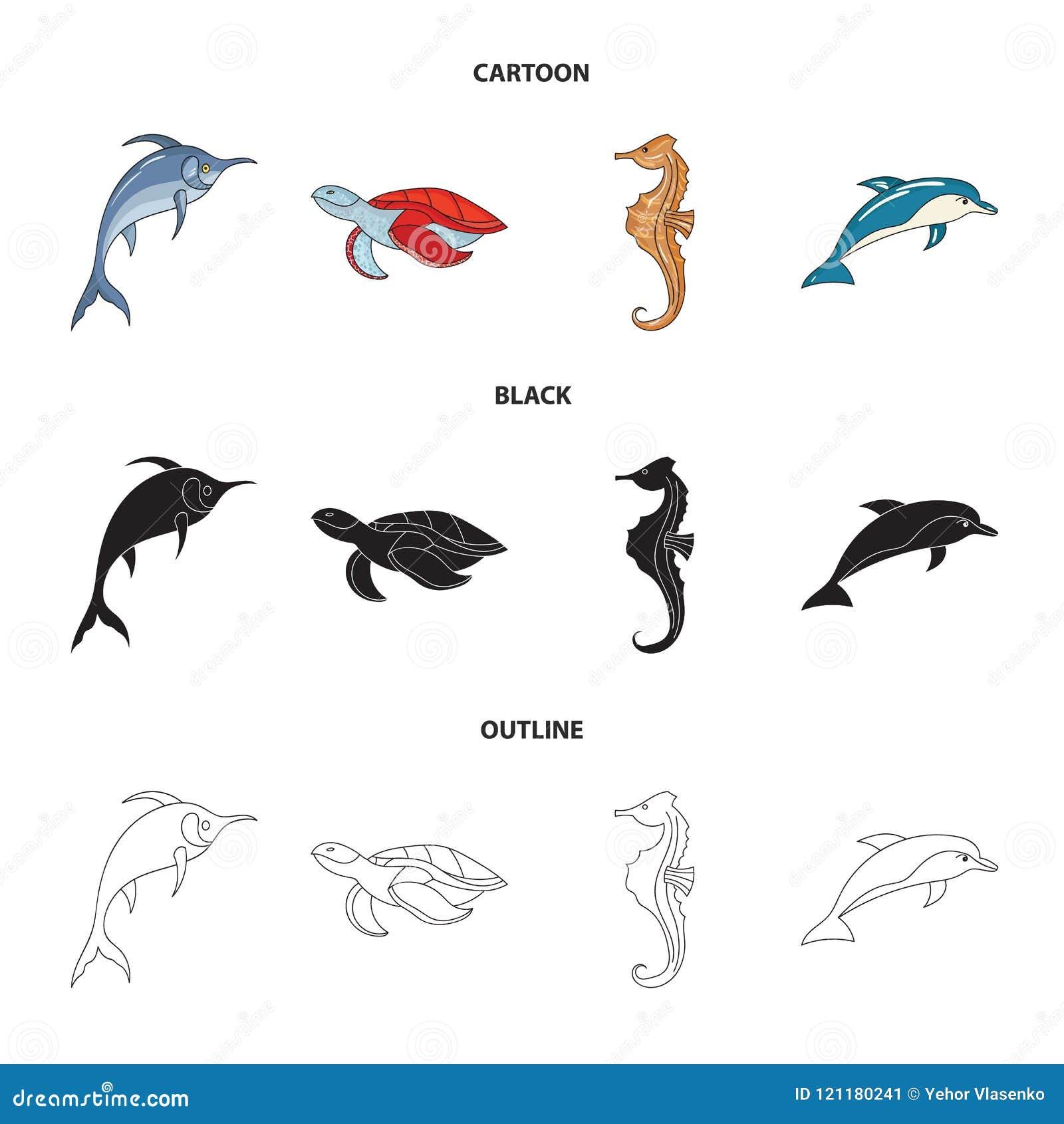 默林、乌龟和其他种类 海洋动物设置了在动画片,黑色,概述样式传染媒介标志股票的汇集象