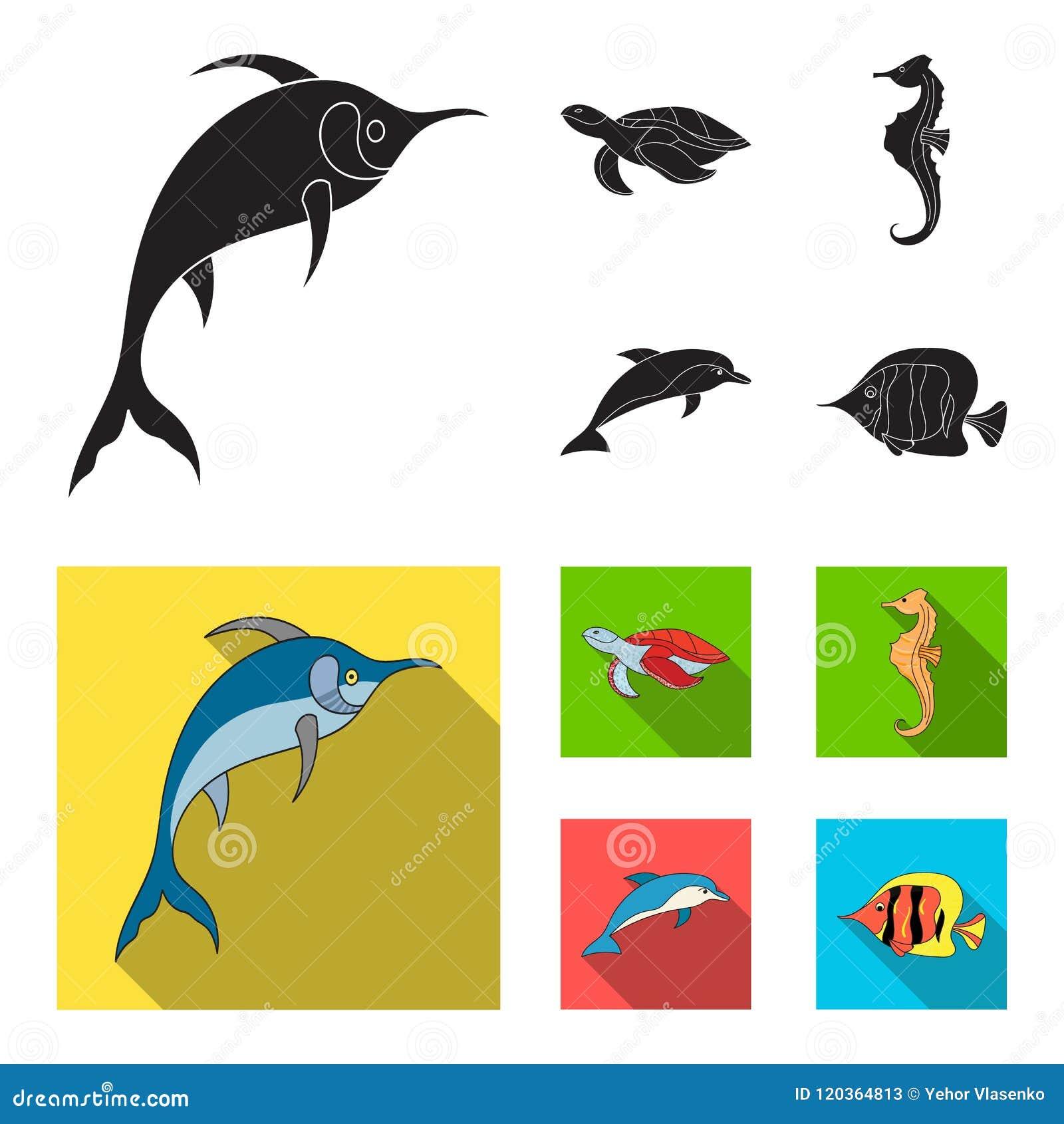 默林、乌龟和其他种类 海洋动物设置了在黑,平的样式传染媒介标志股票例证的汇集象