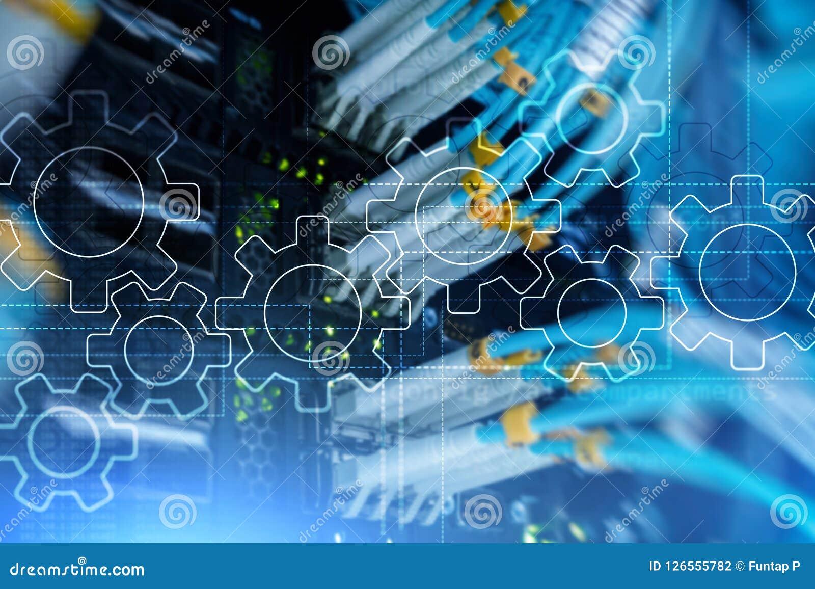齿轮机构、数字式变革、数据集成和数字技术概念