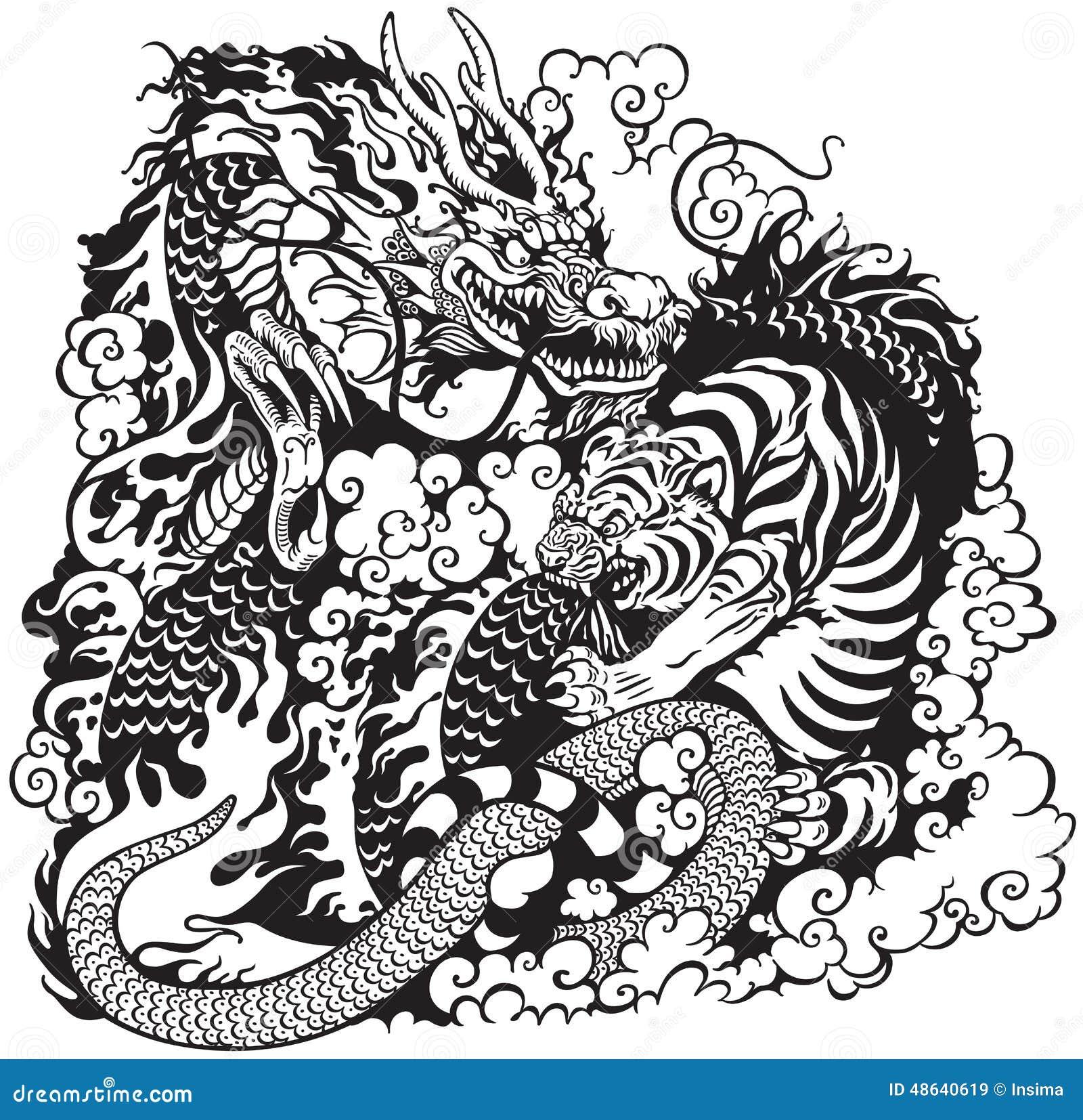 龙和老虎战斗,黑白纹身花刺例证.