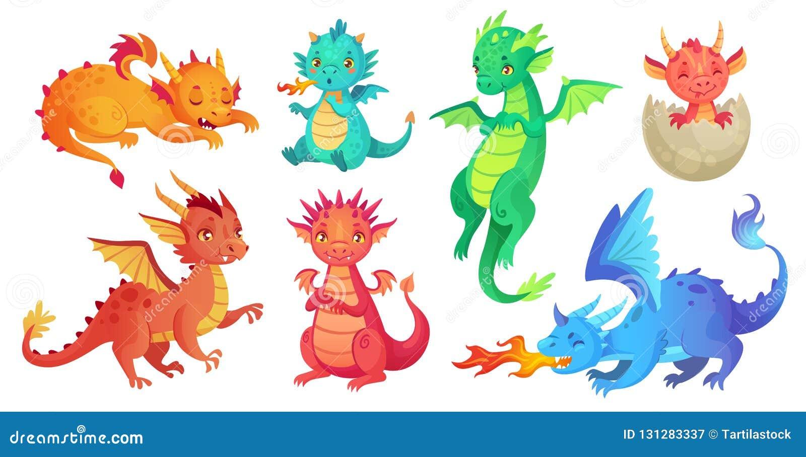 龙孩子 幻想婴孩龙、滑稽的童话爬行动物和中世纪传奇射击被隔绝的呼吸的蛇动画片