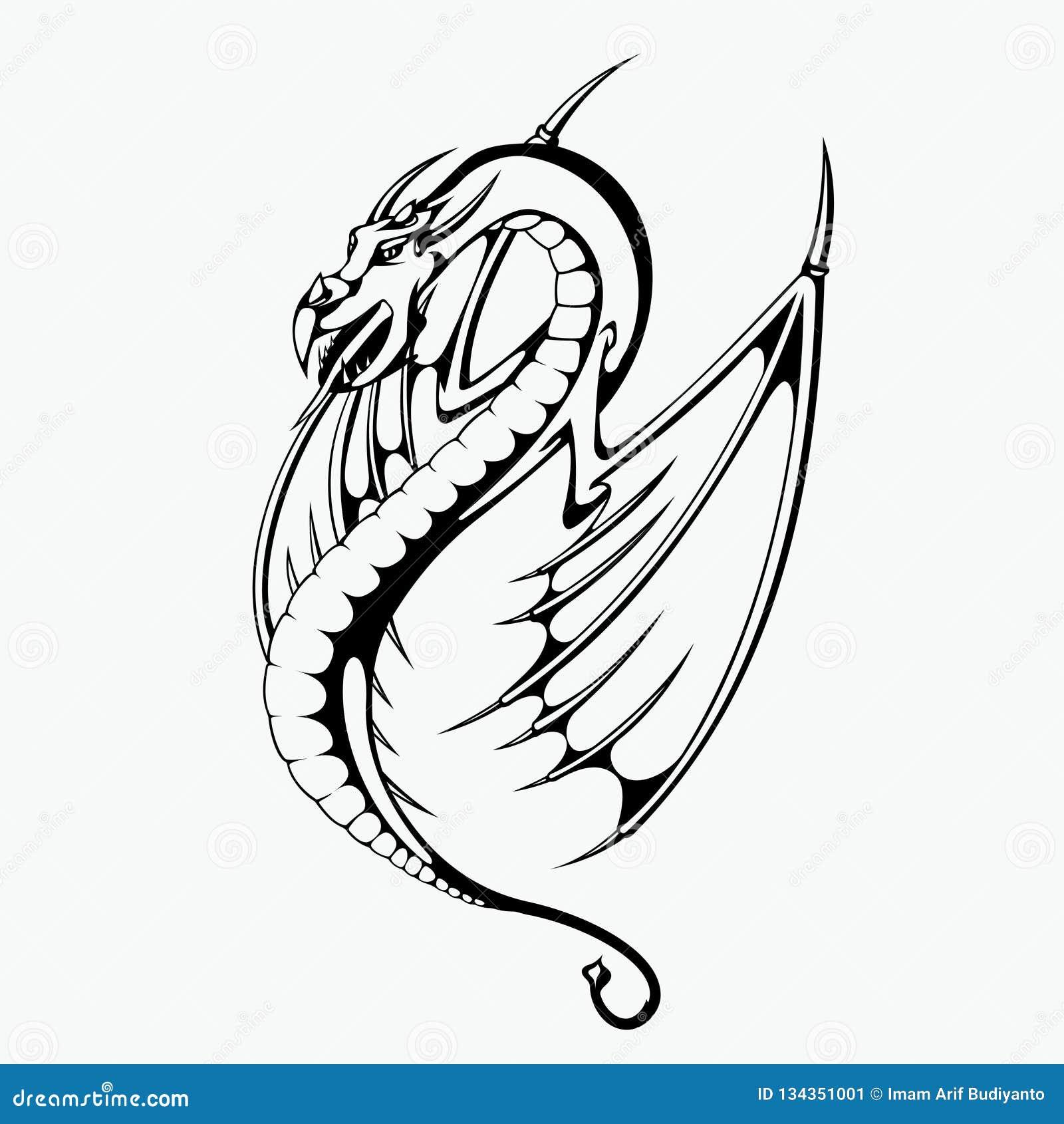 龙纹身花刺设计的传染媒介例证