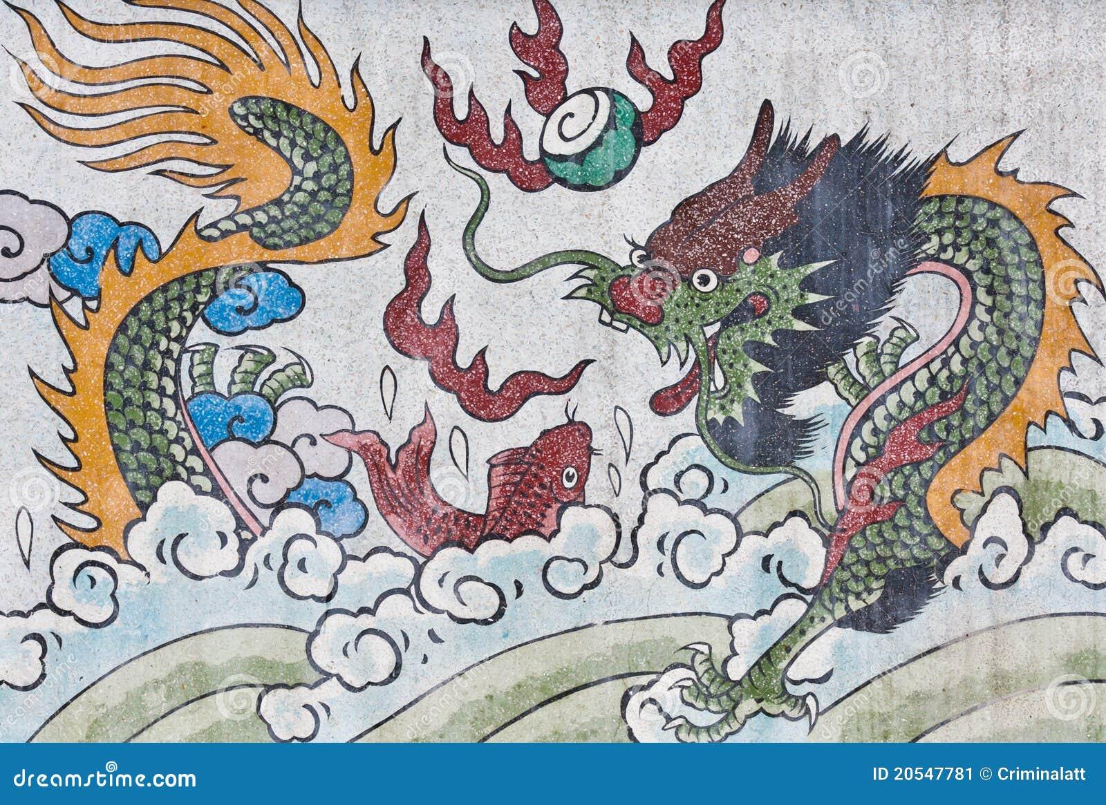 中国龙鱼mable绘画寺庙墙壁.图片