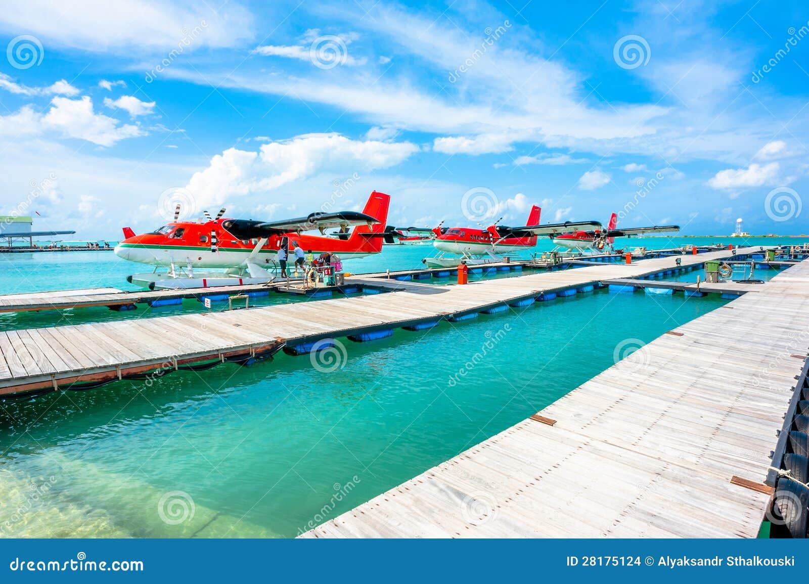 水上飞机在男性机场,马尔代夫