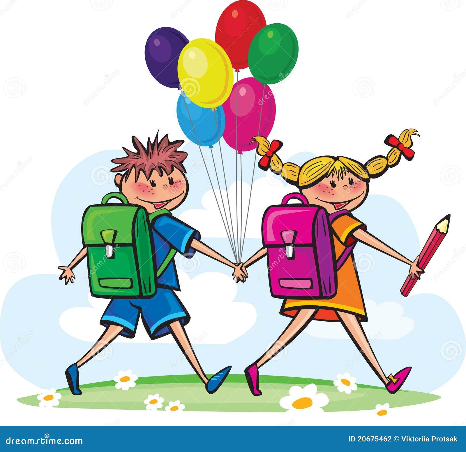 Дети идут школа к
