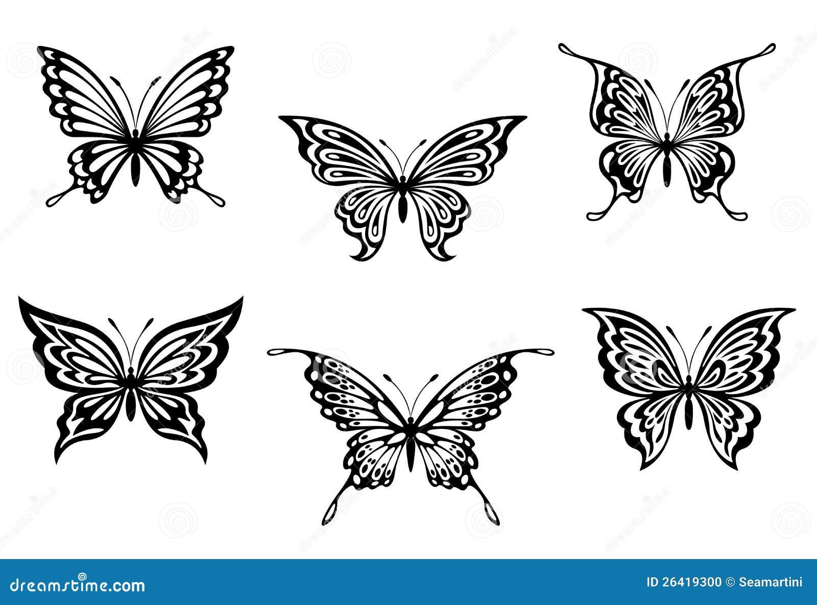 套纹身花刺或点缀的黑色蝴蝶.图片