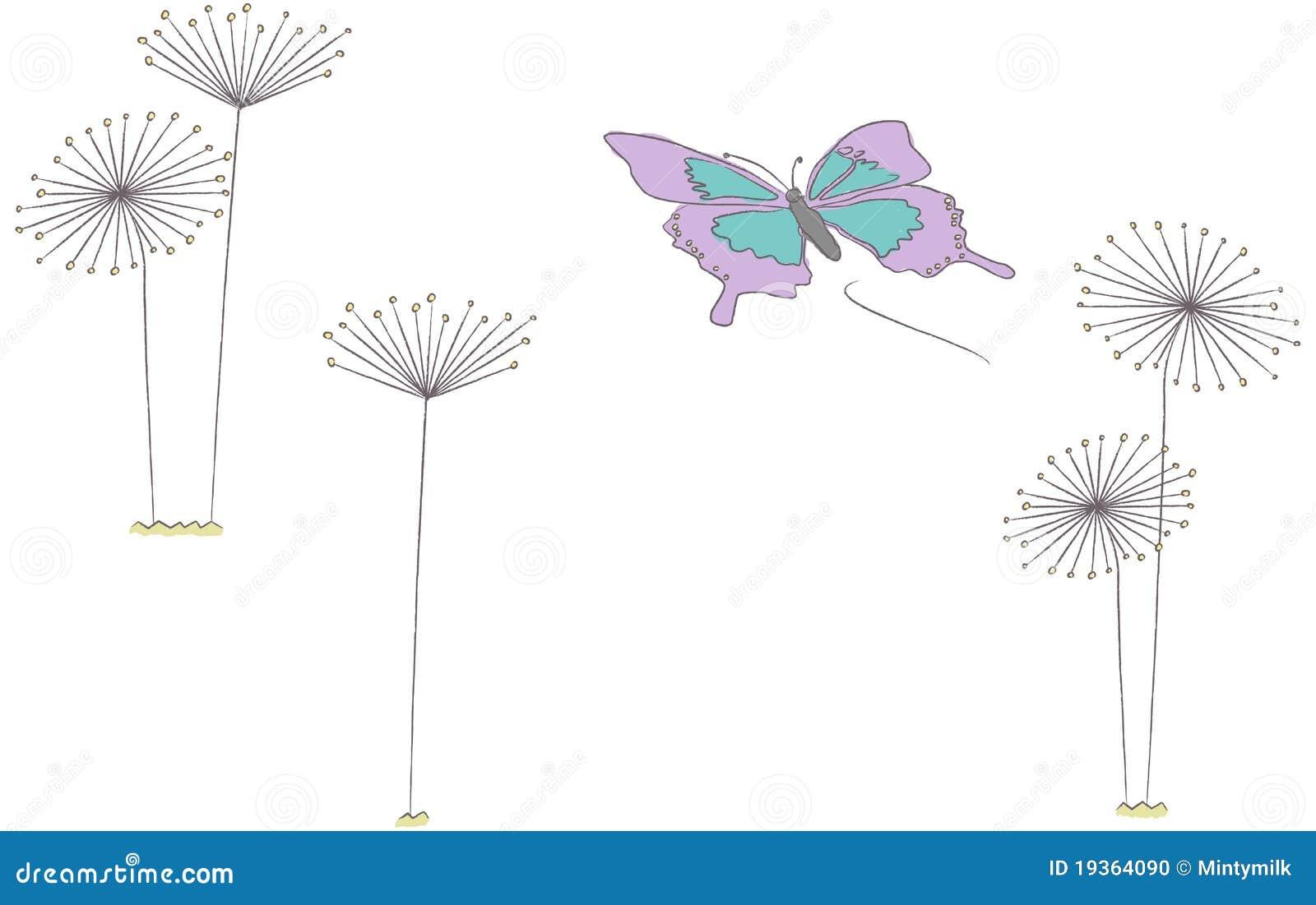 掠过蝴蝶蒲公英飞行往向量的例证冲程.