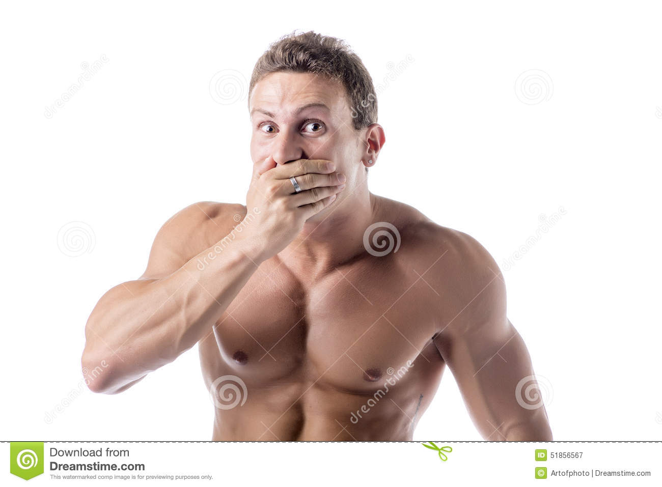 Man Covering Mouth 80