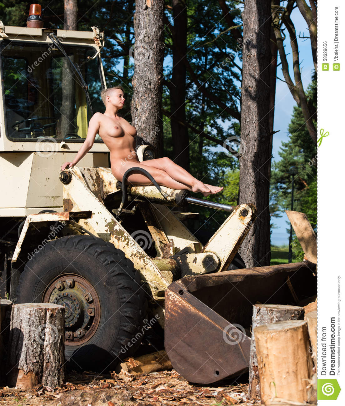 Naked Woman On Tractor 4
