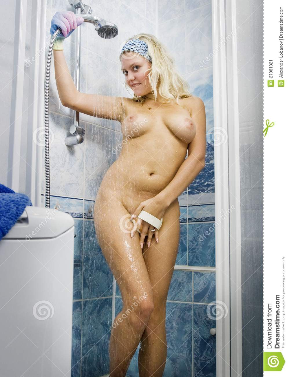 In shower naked woman