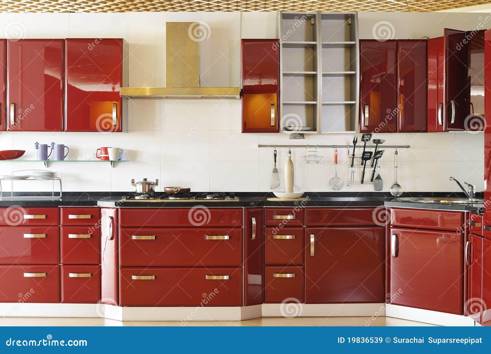 03 gabinetów głęboka drzwiowa kuchenna nowożytna czerwień