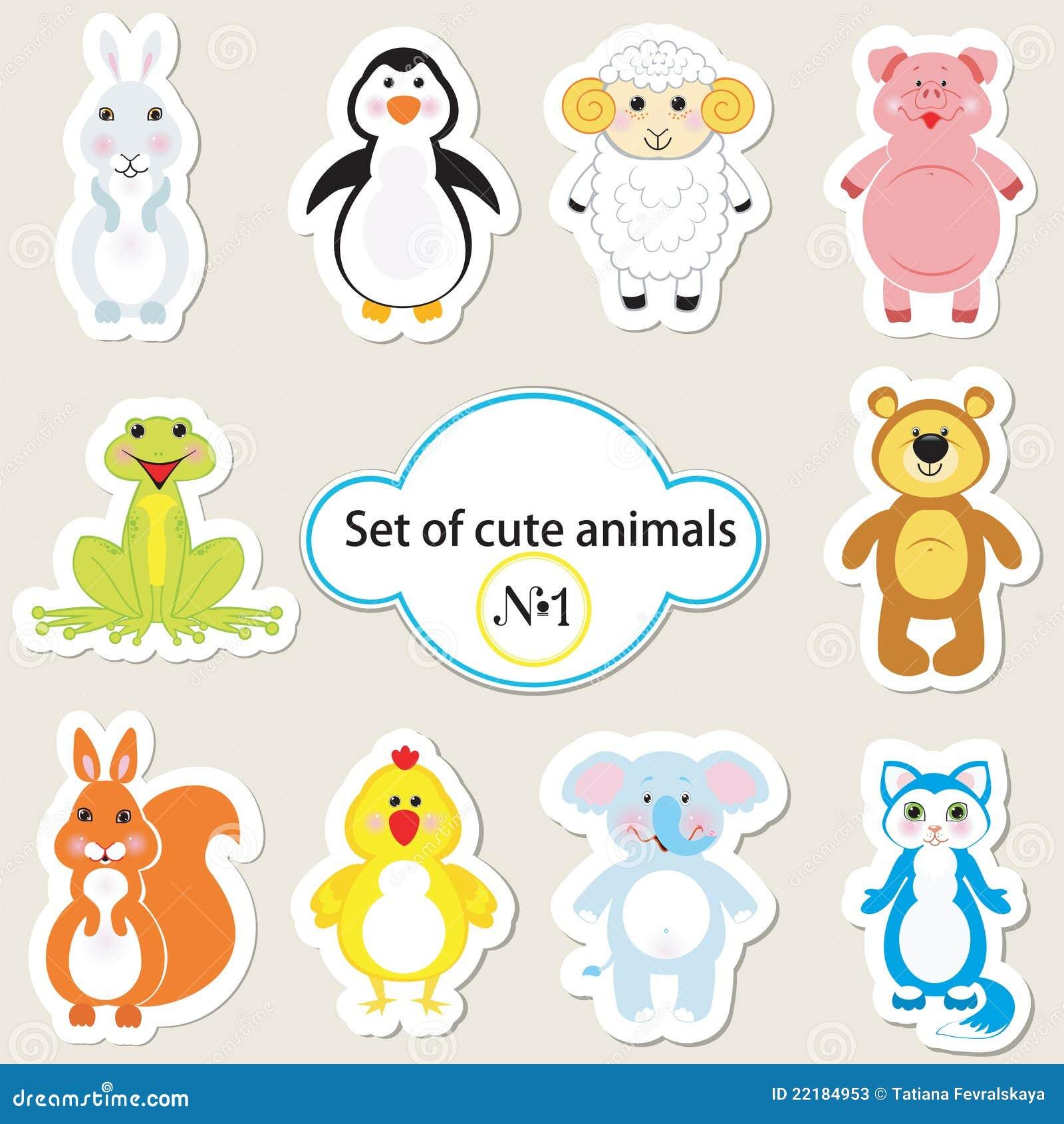 1 χαριτωμένο σύνολο ζώων