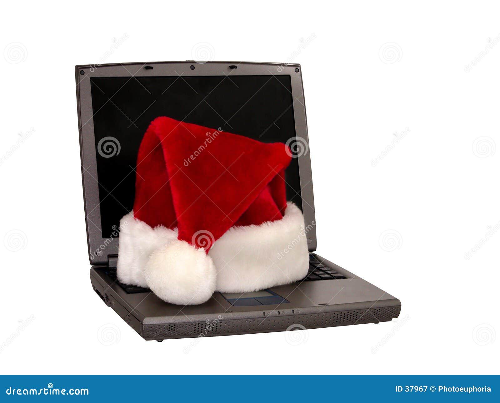 1 3个帽子膝上型计算机圣诞老人开会