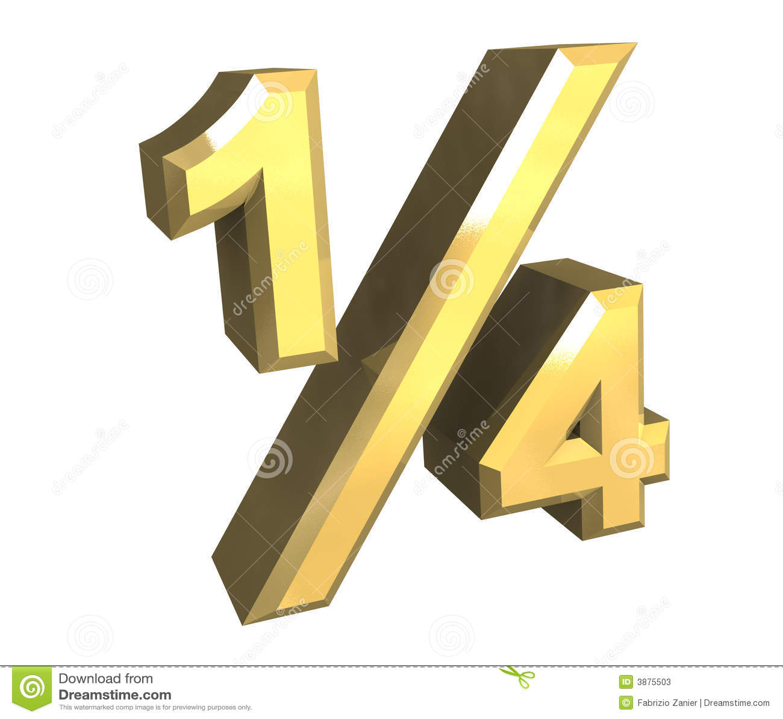 1 4 one quarter in gold 3d stock photos image 3875503. Black Bedroom Furniture Sets. Home Design Ideas