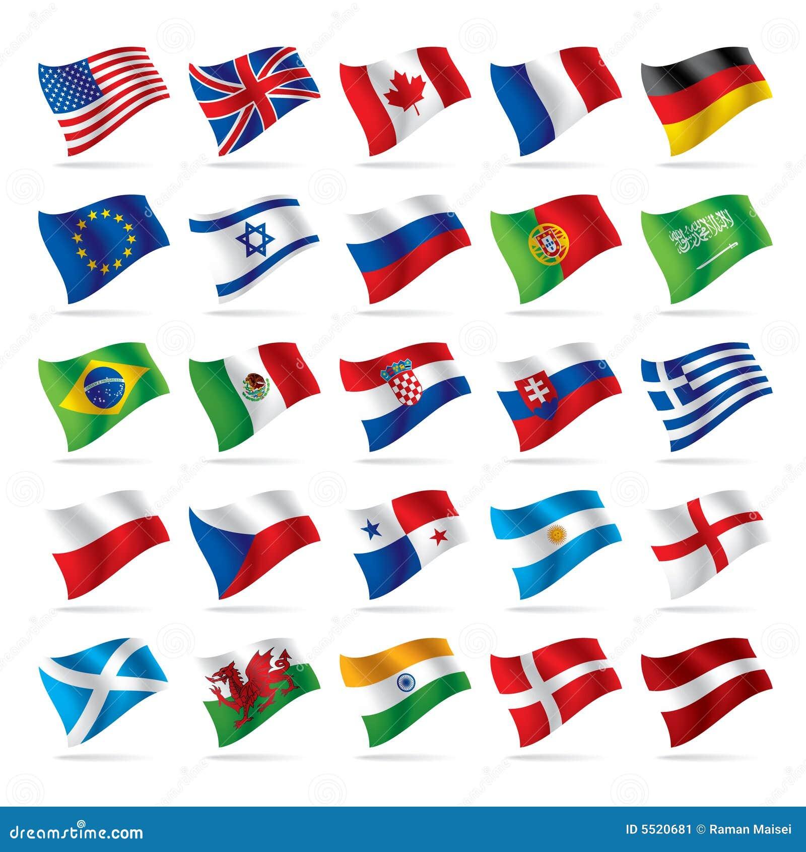 1 flagi zestaw świat