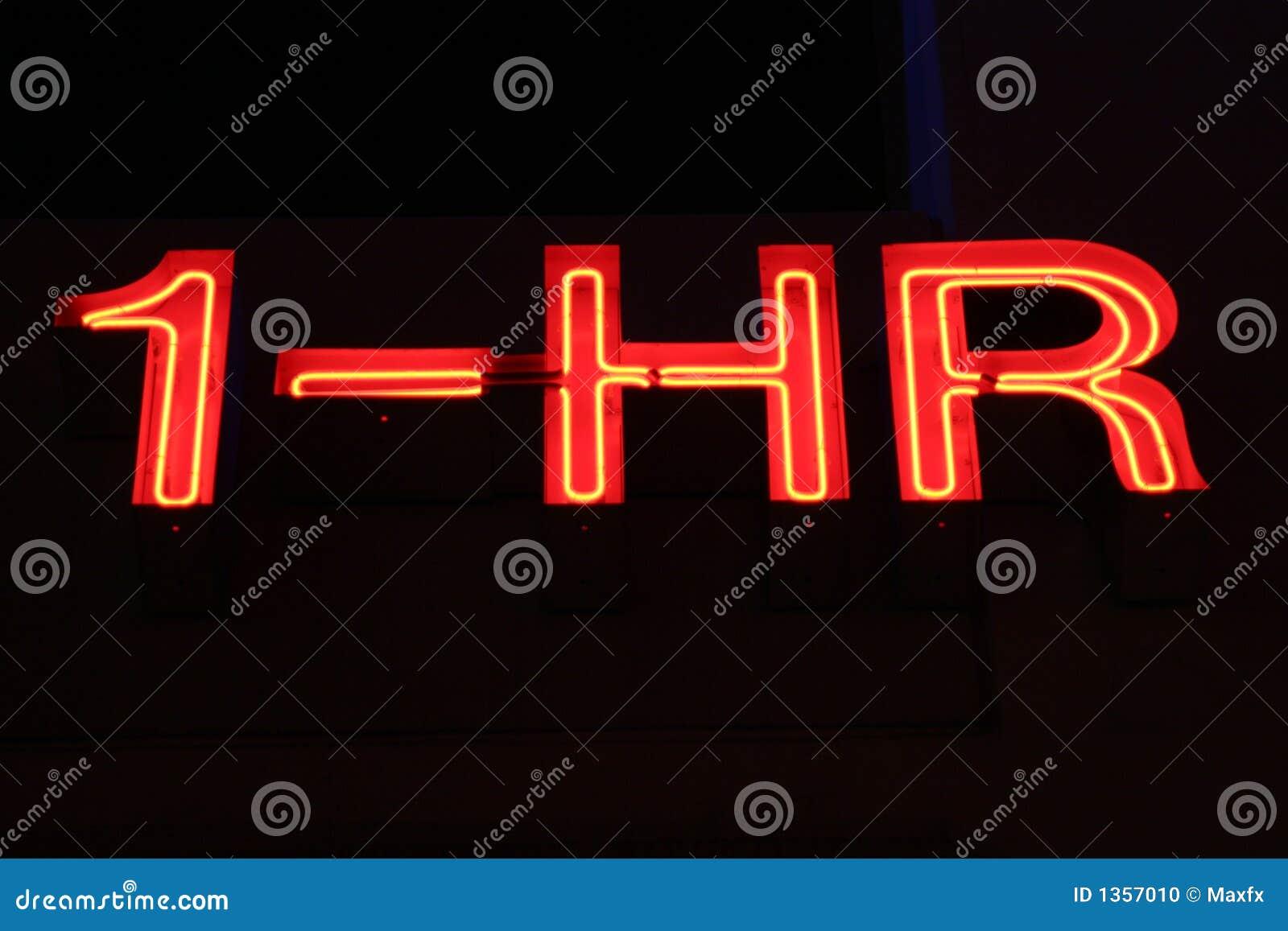 1 Hr Photo >> 1 Hour Sign Neon Lights Stock Photo Image Of Bulbs Shiny