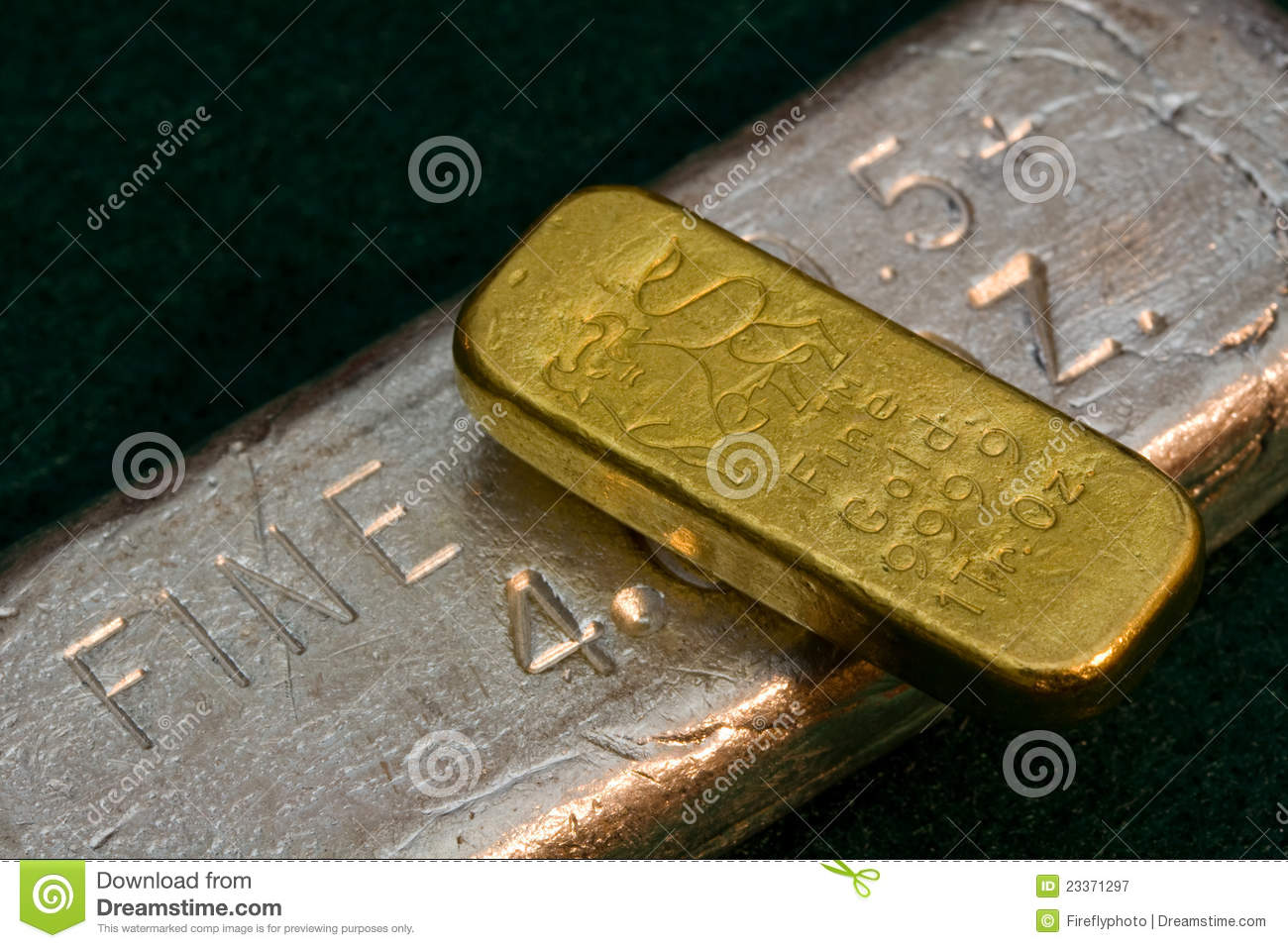 1 Ounce Gold Bullion Bar Ingot Silver Bar Below