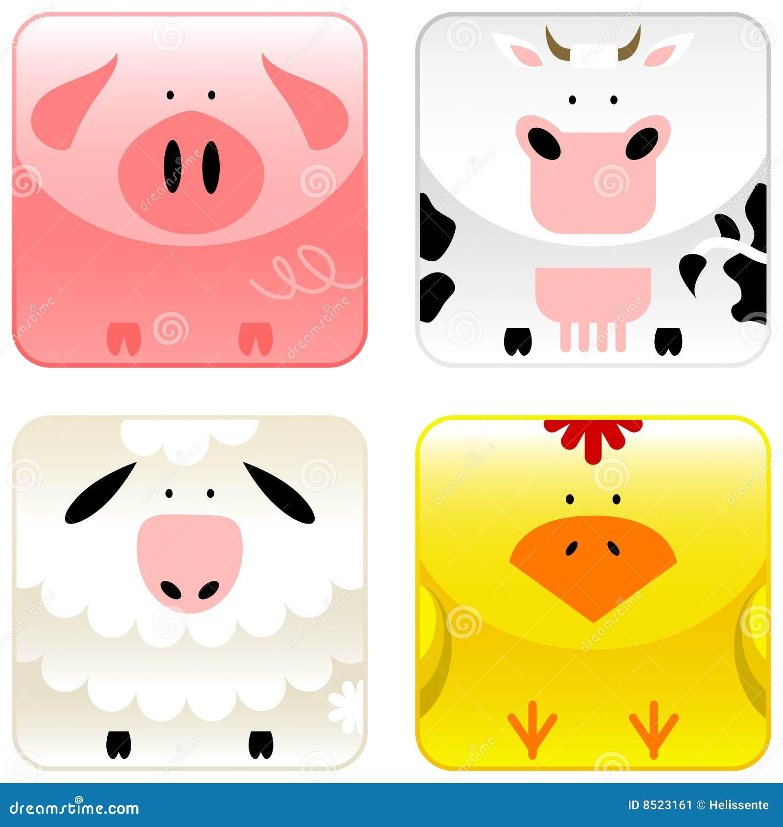 (1) zwierzęta uprawiają ziemię ikona set
